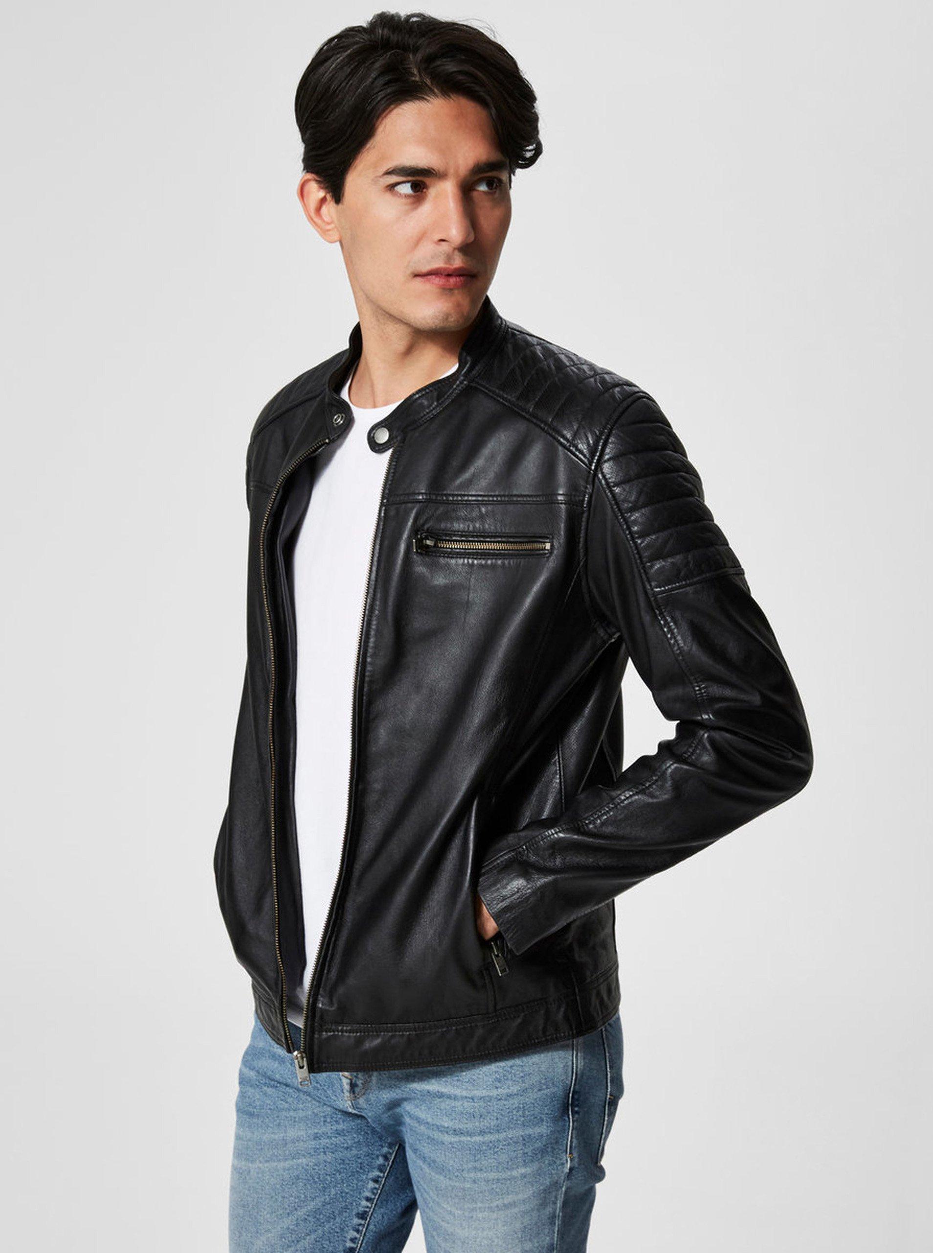 Černá kožená bunda Selected Homme Jack