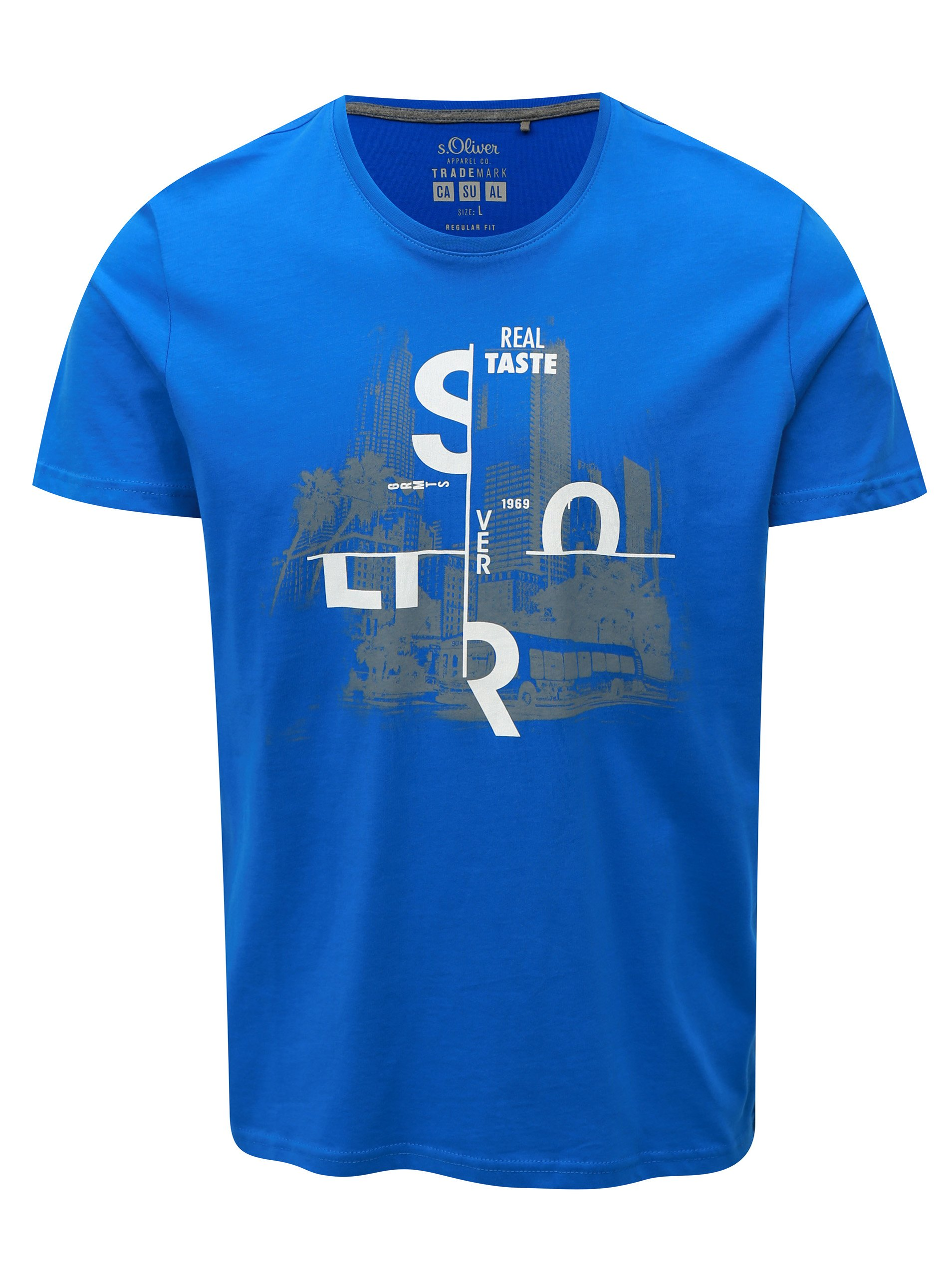 958886e3a126 Modré pánske regular fit tričko s potlačou s.Oliver