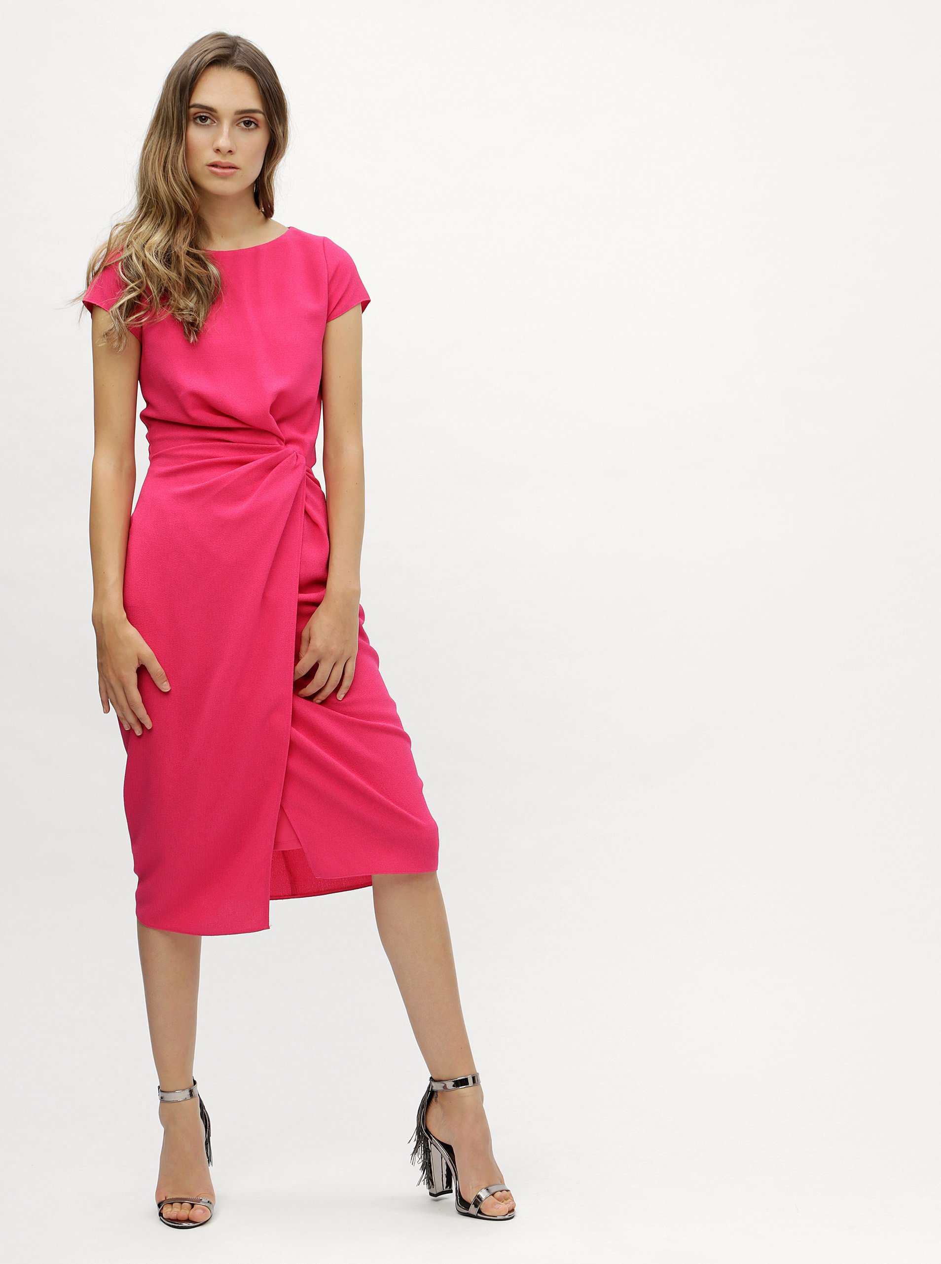 8084c9cdec0d Ružové šaty s riasením na boku Dorothy Perkins