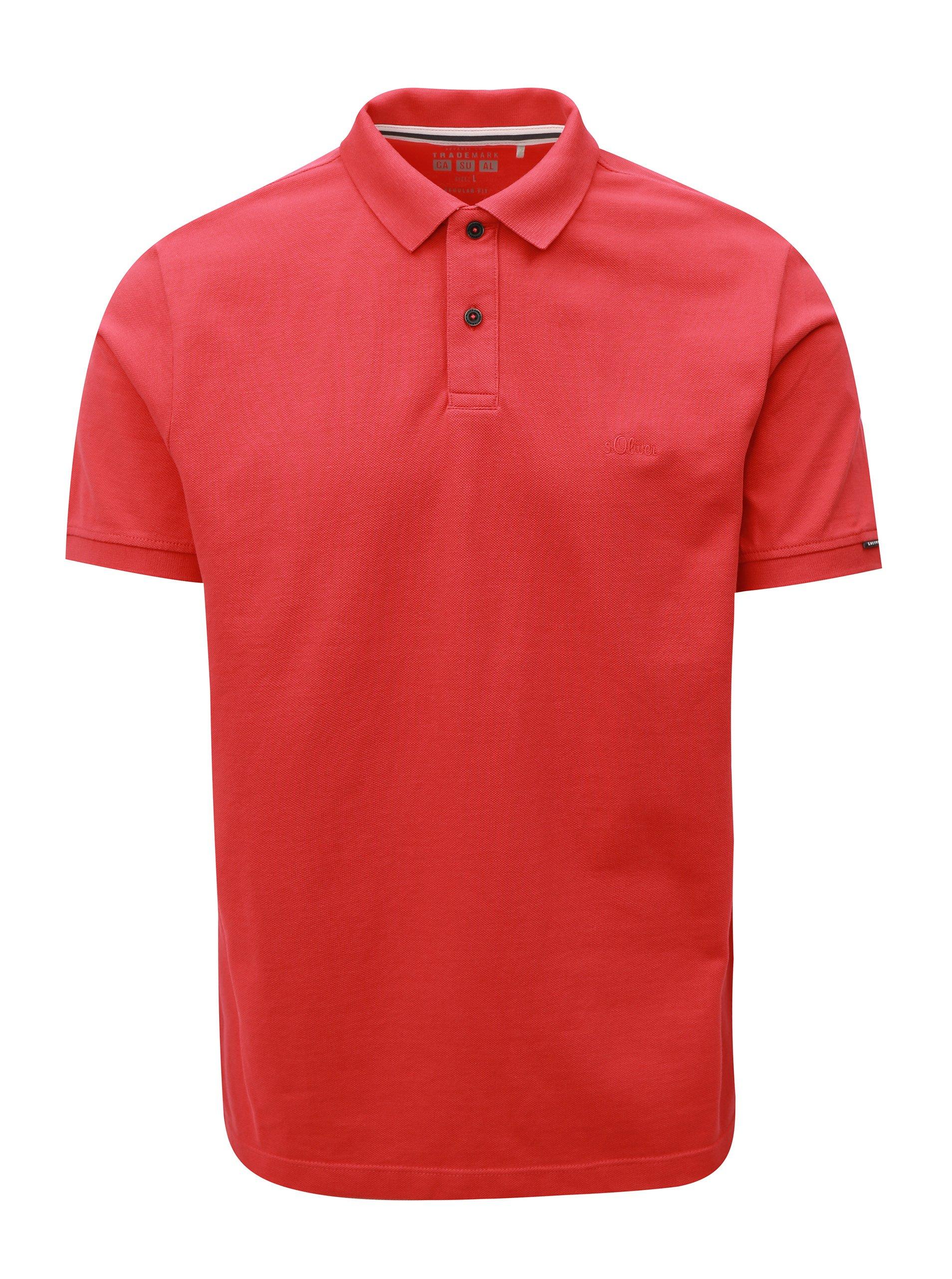 Červené pánske regular fit polo tričko s.Oliver