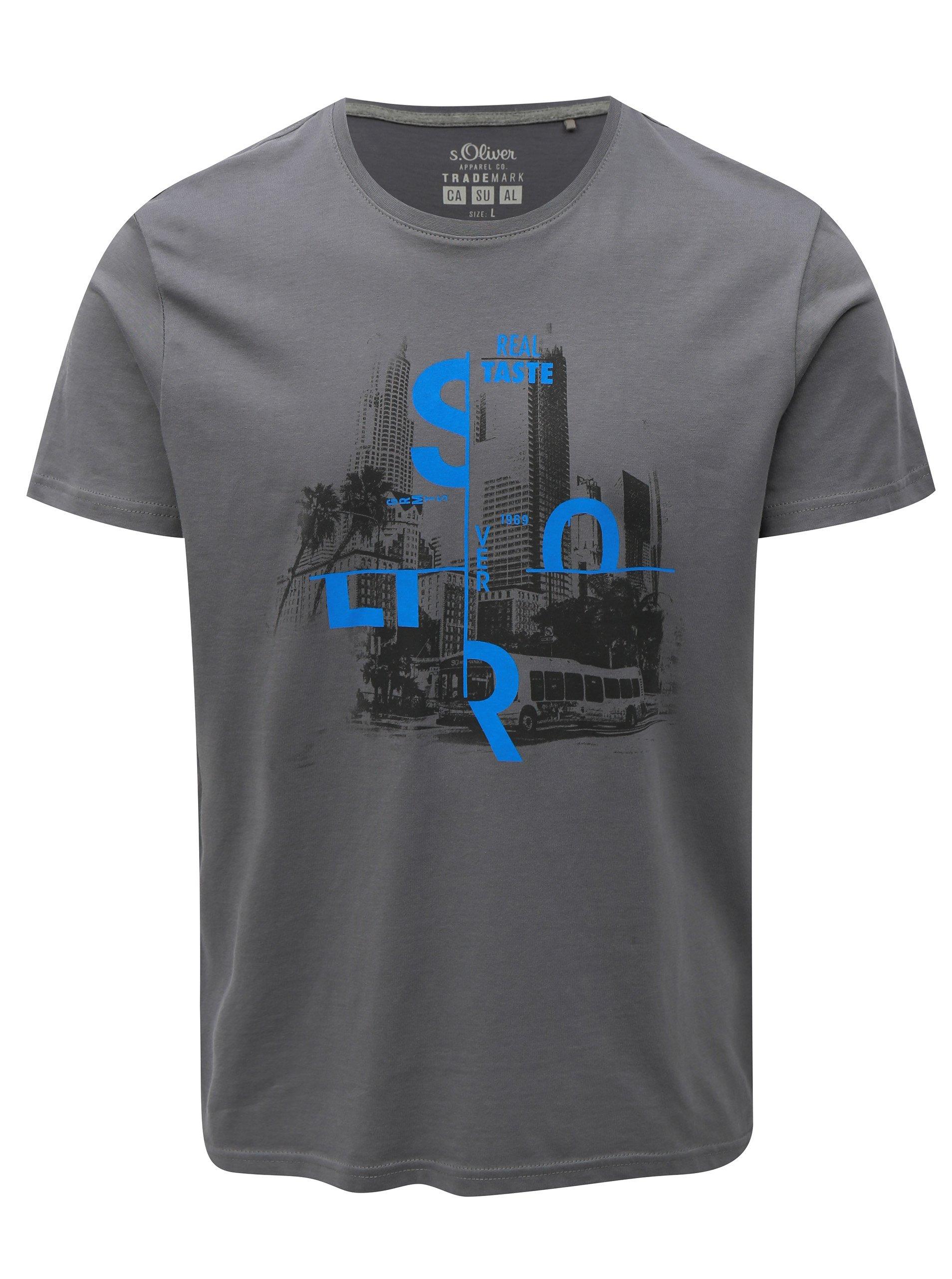 ece2812556db Sivé pánske regular fit tričko s potlačou s.Oliver