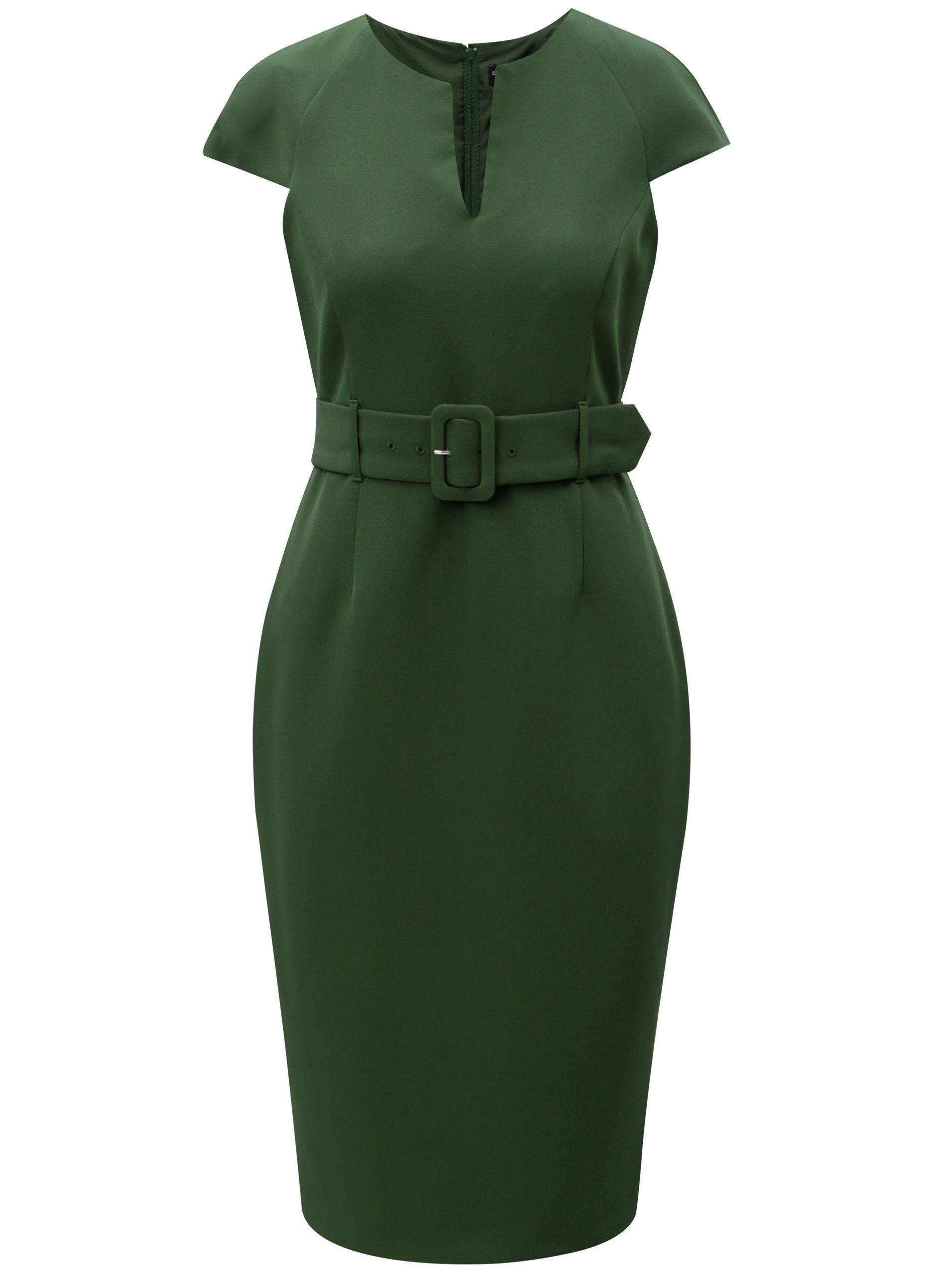 Zelené puzdrové šaty s opaskom Dorothy Perkins