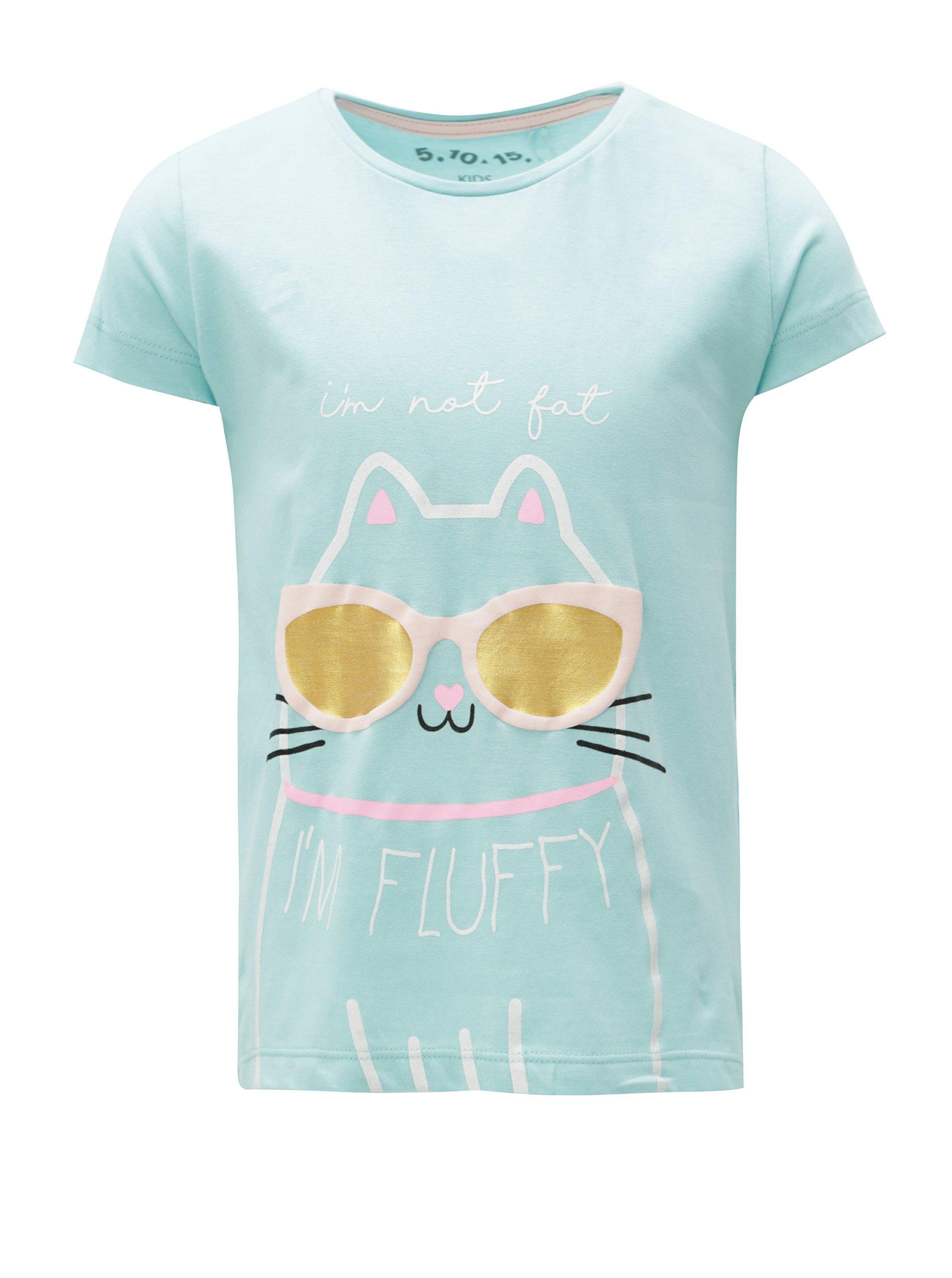 Modré dievčenské tričko s potlačou a volánmi 5.10.15.