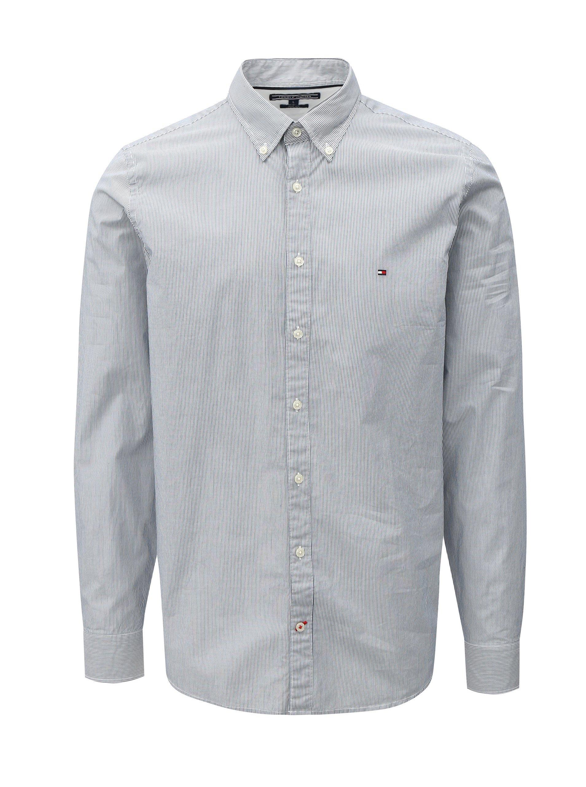 0b6e37b1a3ab Bílo-modrá pánská slim fit pruhovaná košile Tommy Hilfiger