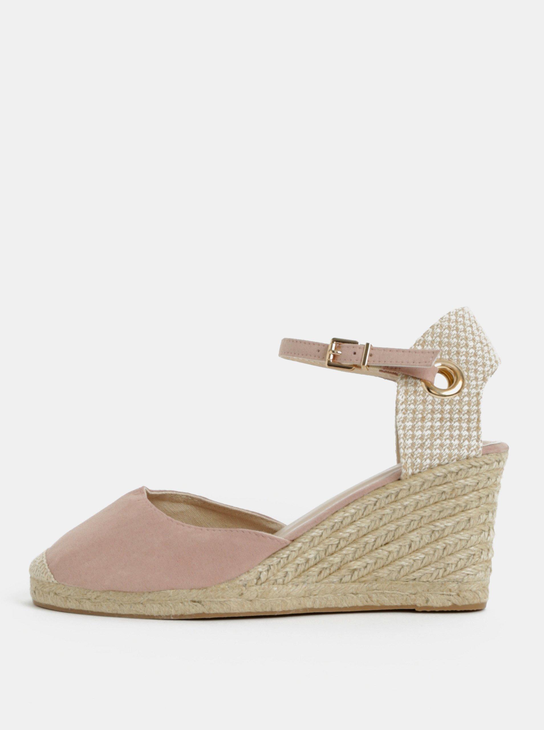 Béžovo-ružové sandále na klinovom podpätku Dorothy Perkins