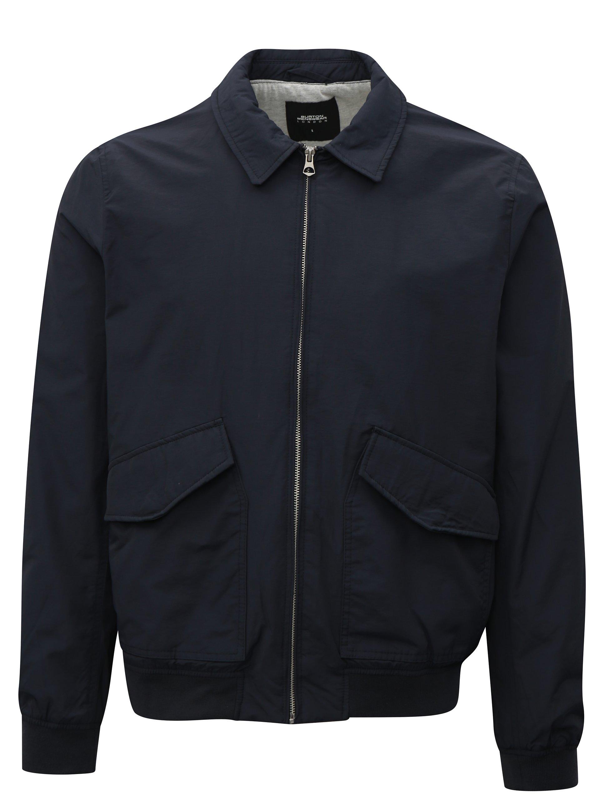 Tmavě modrý pánský bomber Burton Menswear London