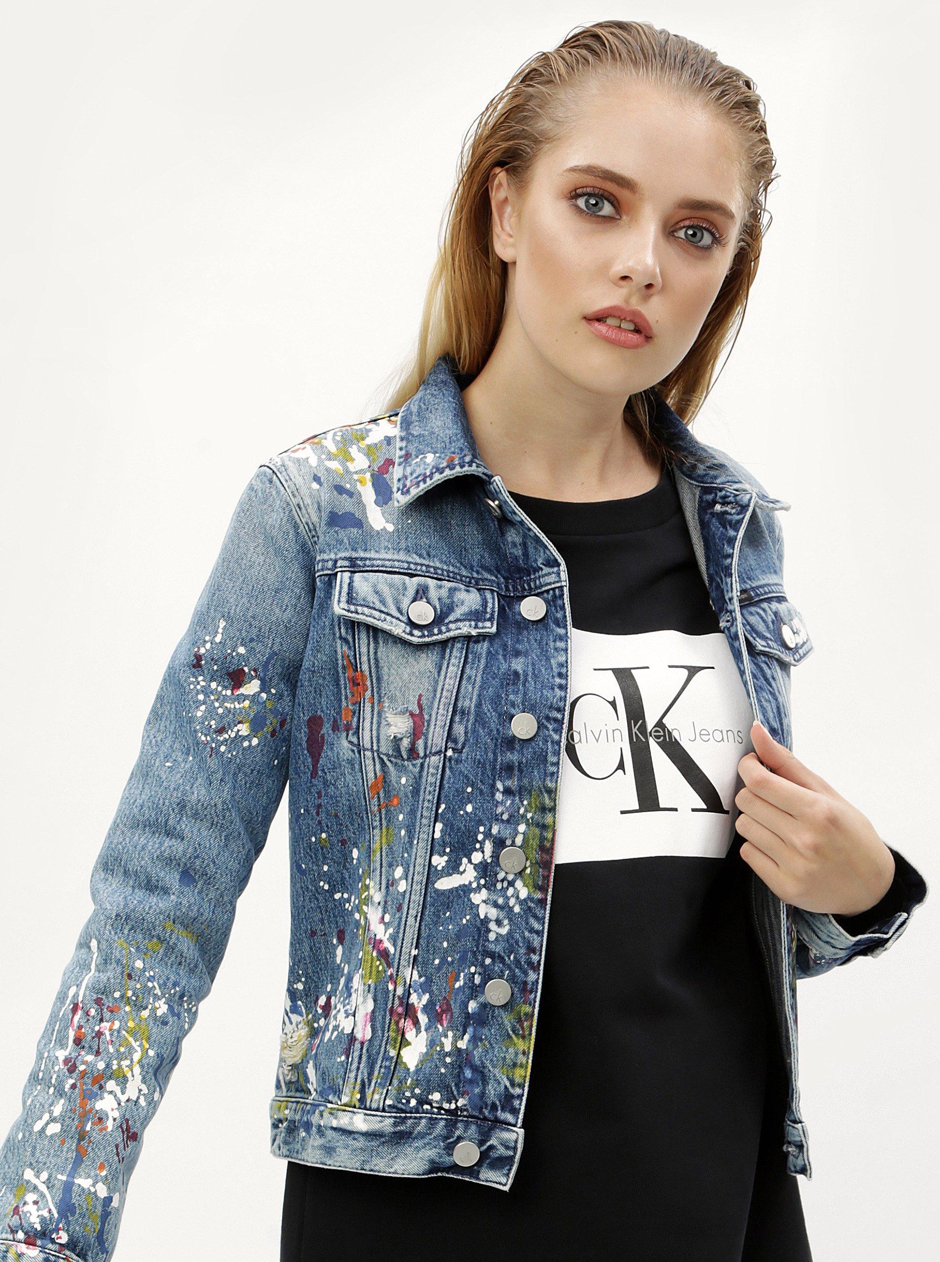 abfafa24968e Modrá dámska rifľová bunda s potlačou Calvin Klein Jeans