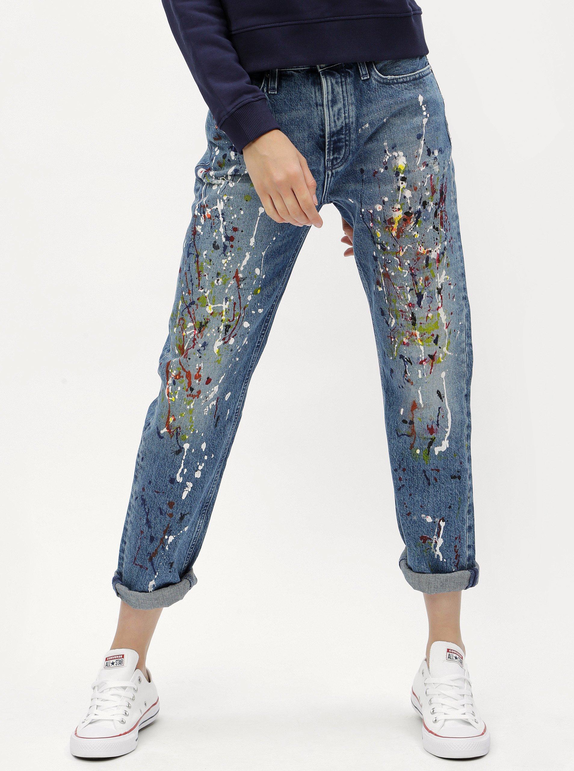 Fotografie Modré dámské straight džíny s vysokým pasem Calvin Klein Jeans