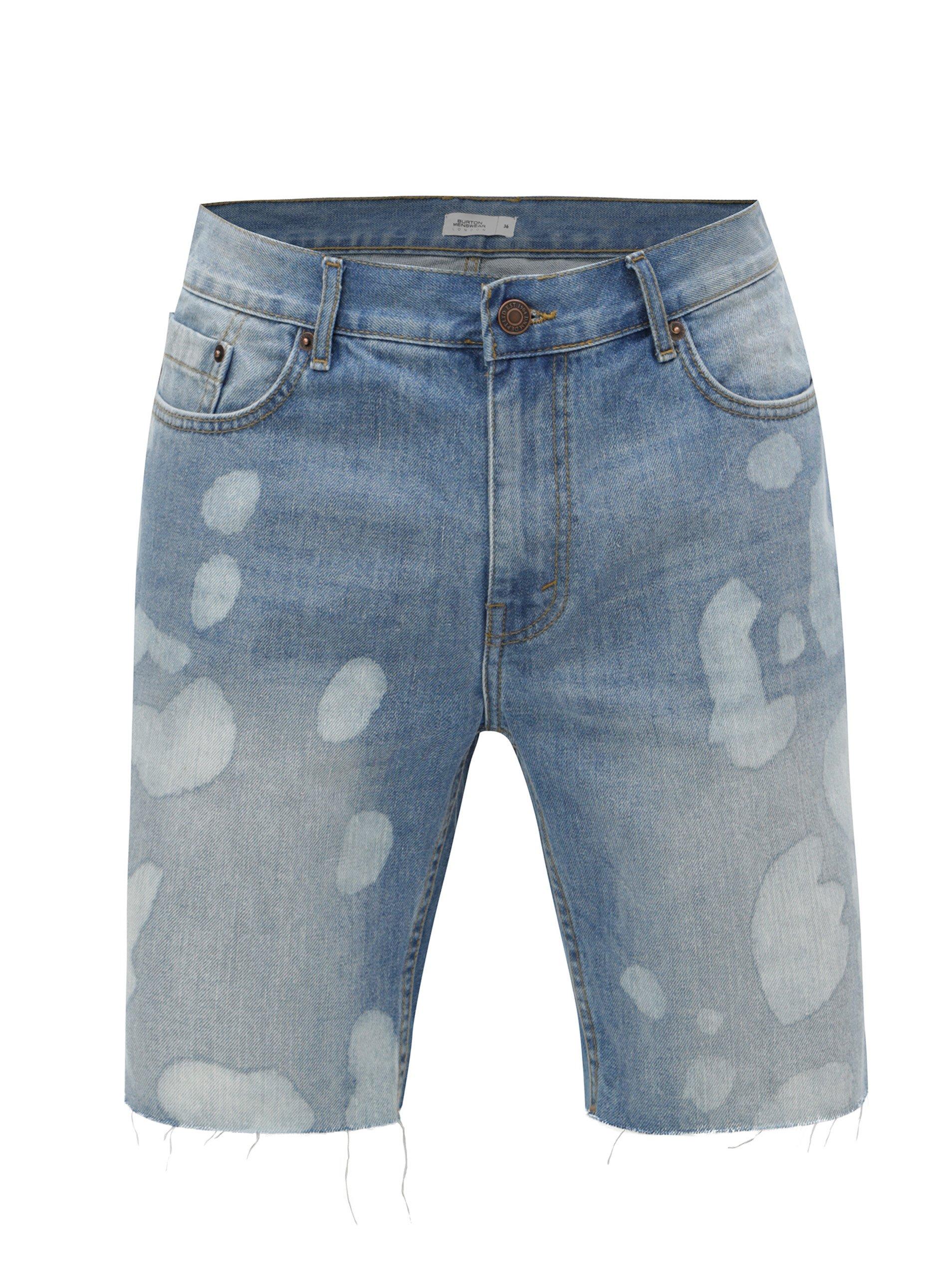 Modré džínové kraťasy s nezakončeným lemem Burton Menswear London
