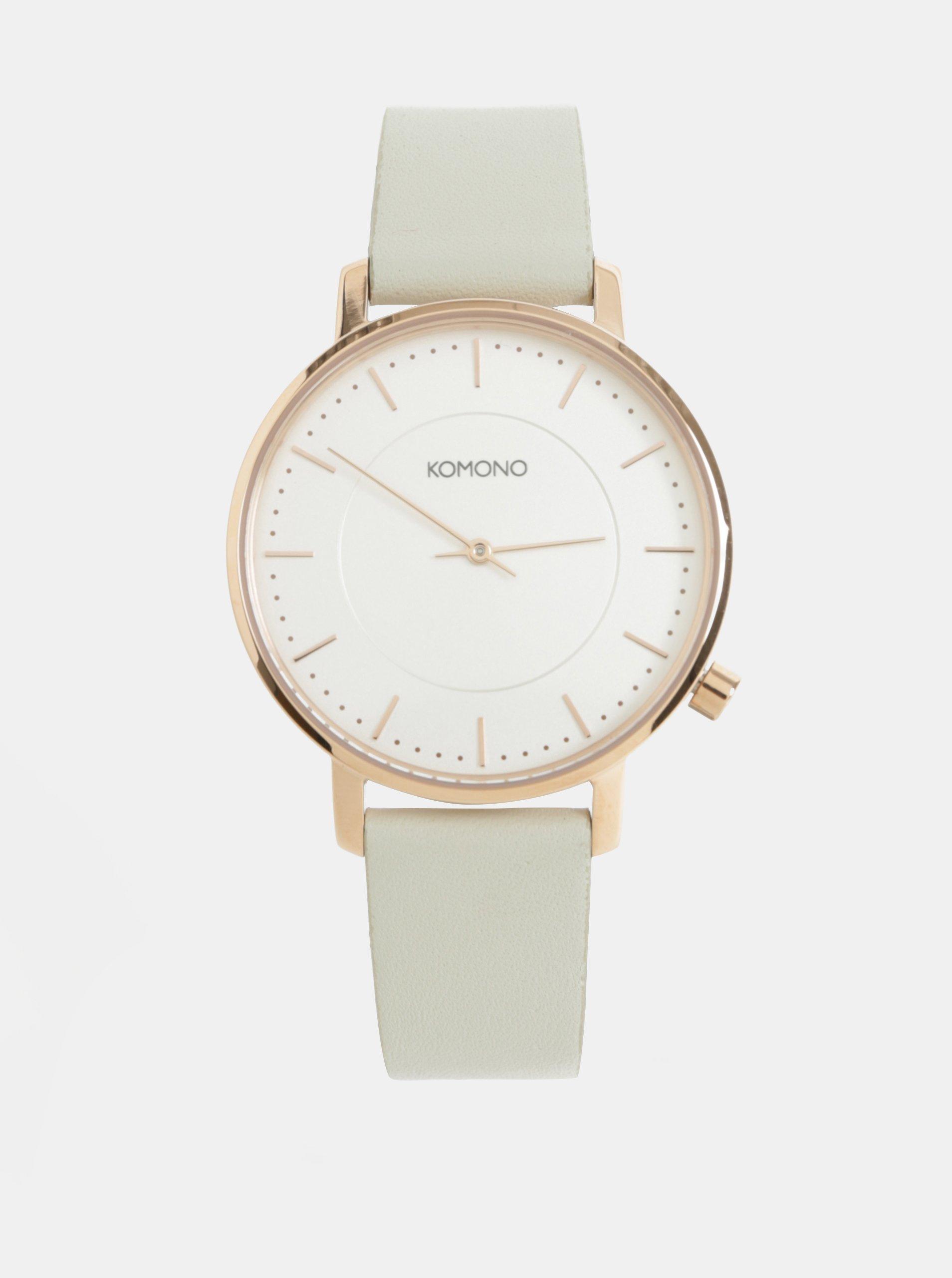 37a2b9d4449 Dámske hodinky se svetlosivým koženým remienkom Komono The Harlow