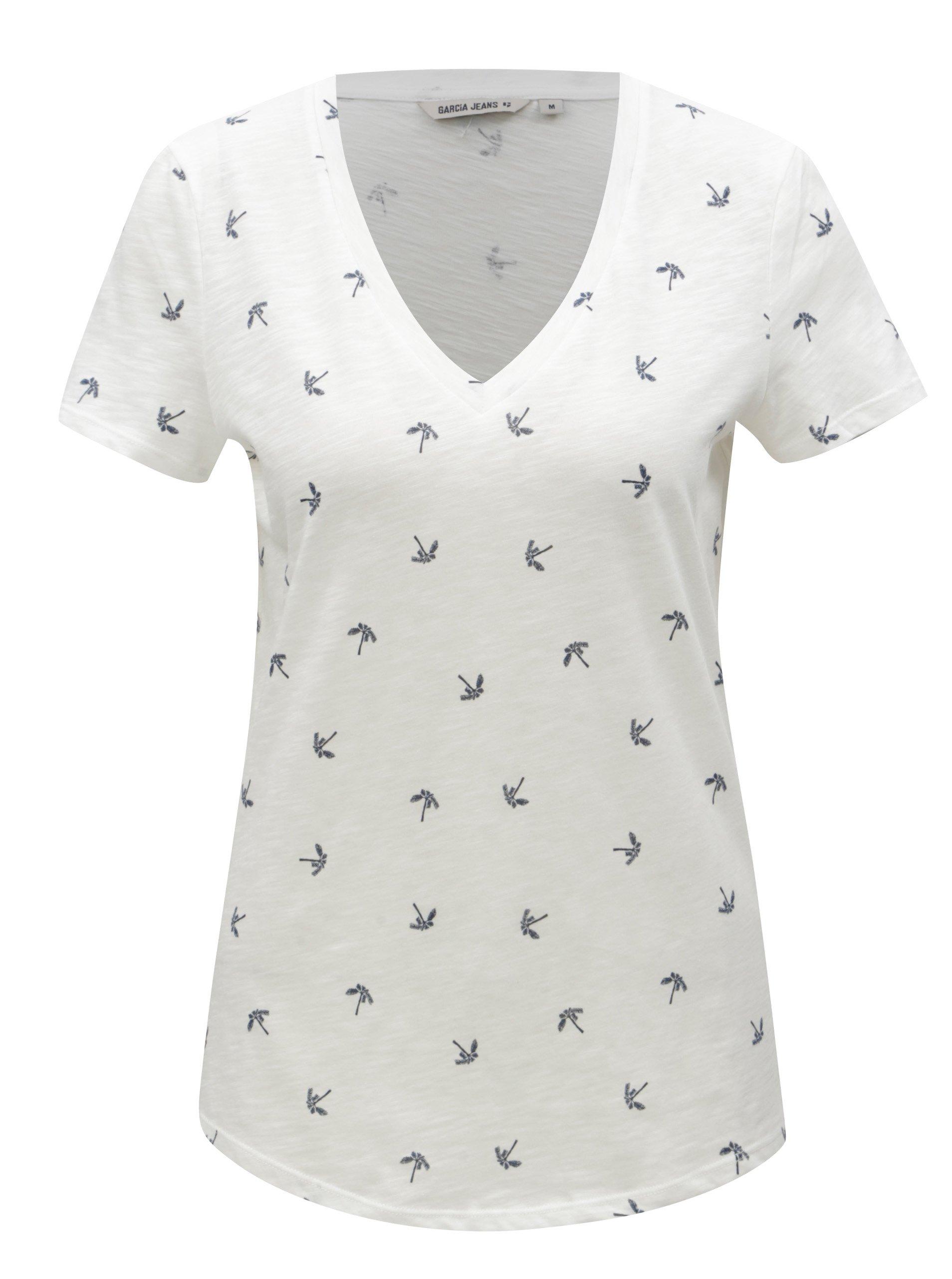 Bílé dámské tričko s motivem palem Garcia Jeans 7c6d38e77d