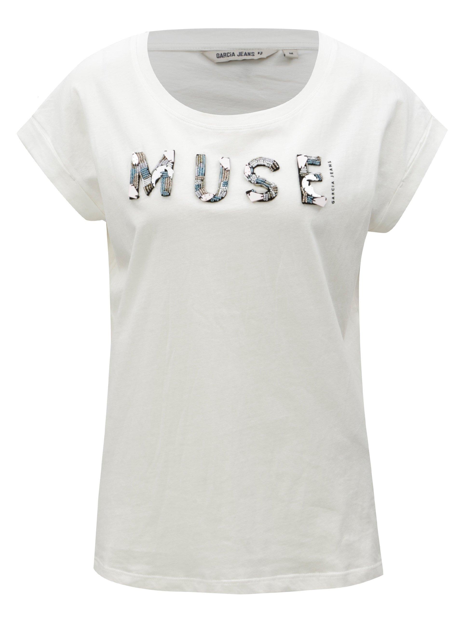 Bílé dámské tričko s korálkovou výšivkou Garcia Jeans