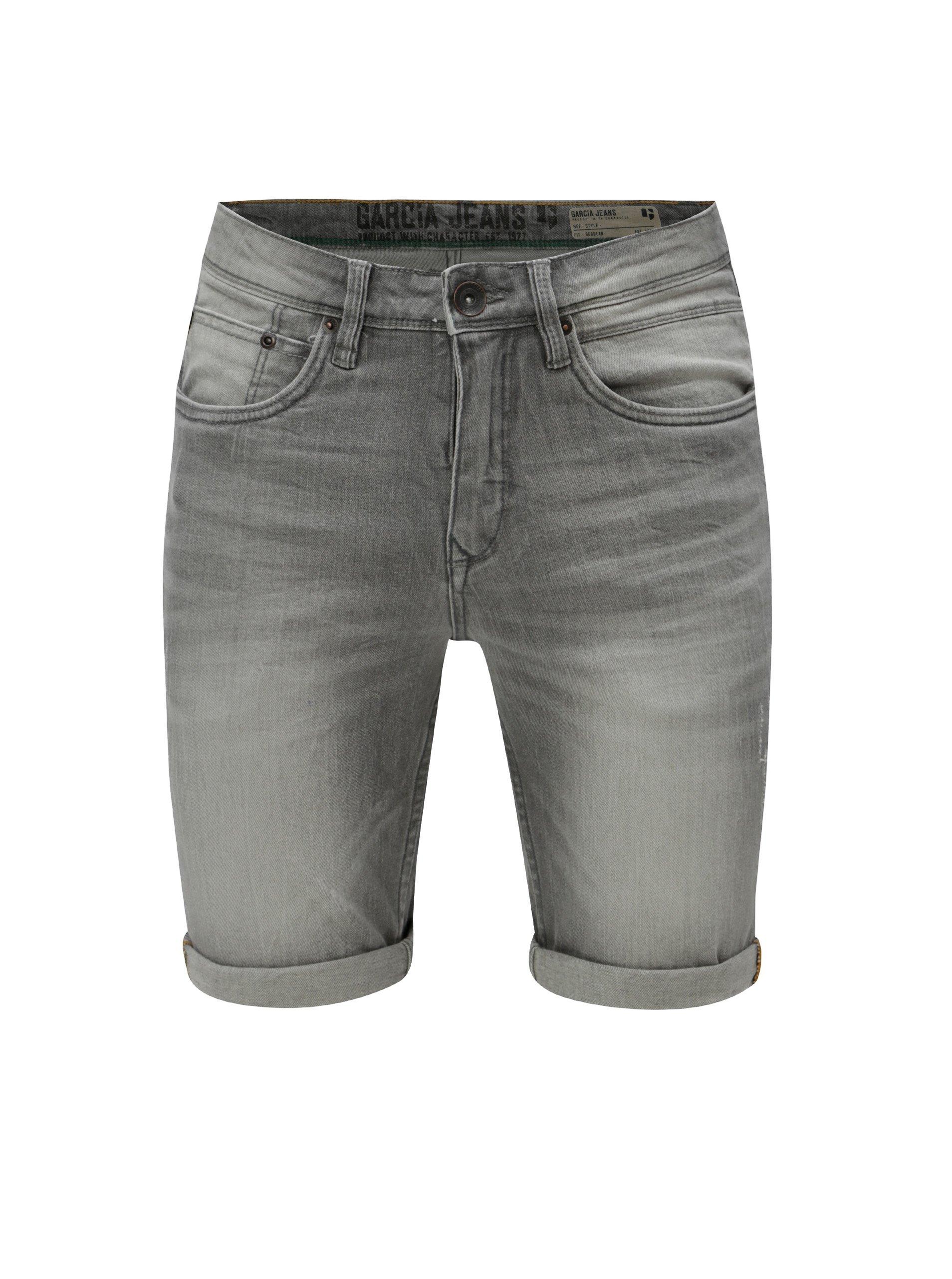 Šedé pánské džínové kraťasy s vyšisovaným efektem Garcia Jeans Russo short 9824243f76
