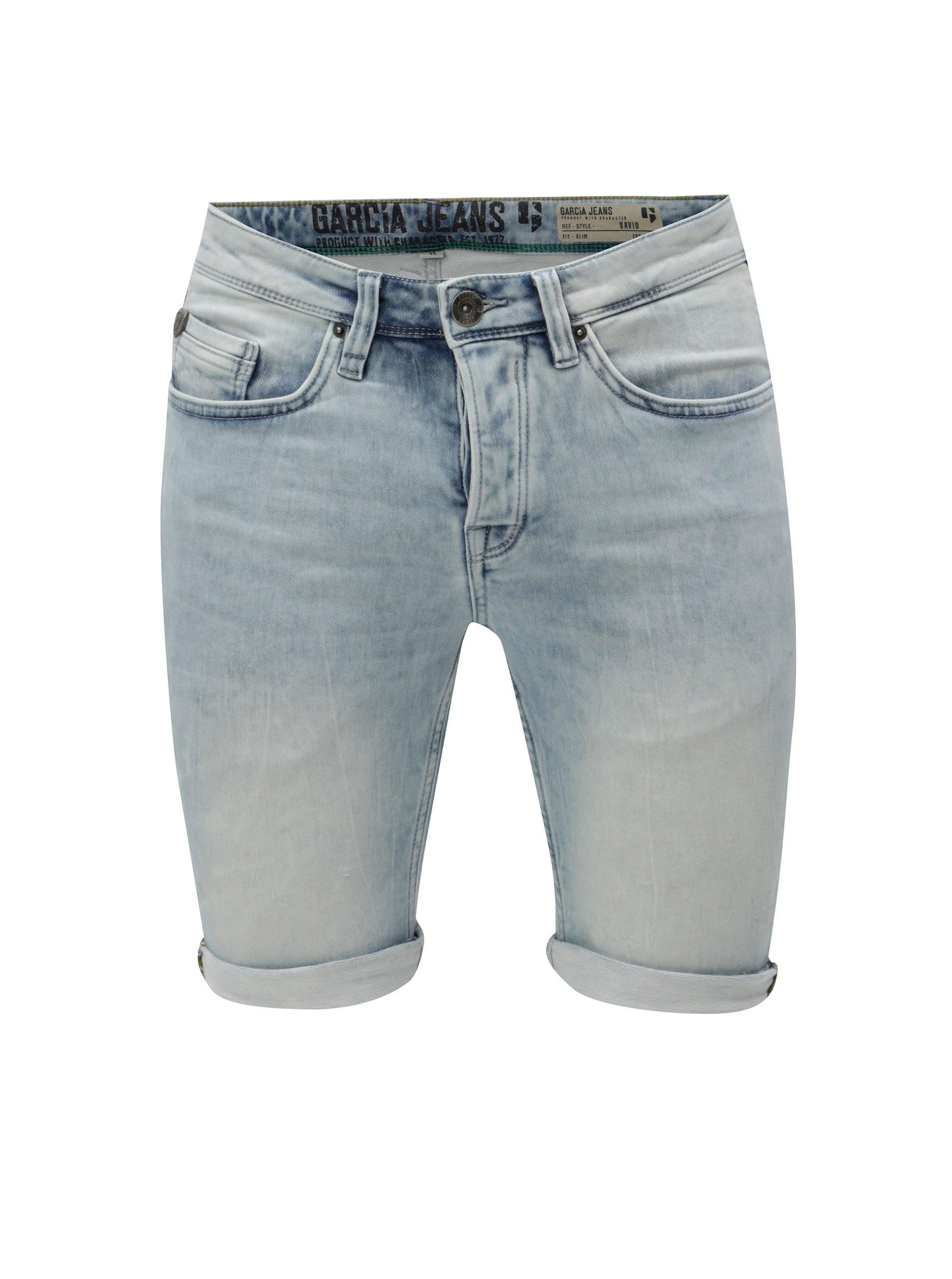 Světle modré pánské džínové slim kraťasy s vyšisovaným efektem Garcia Jeans  Savio 114a451a5c