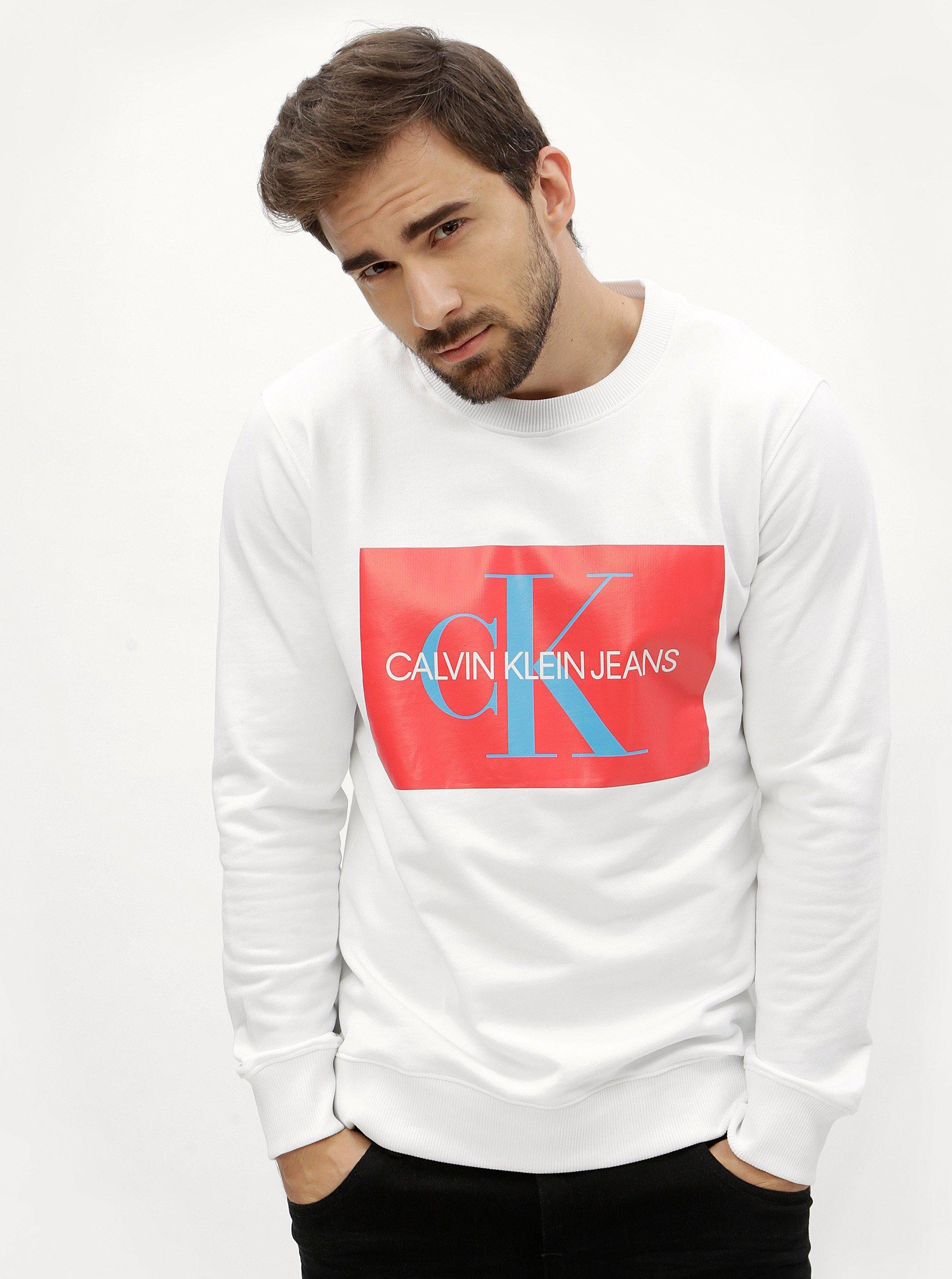 Červeno-biela pánska mikina s potlačou Calvin Klein Jeans 48d709aa8d7