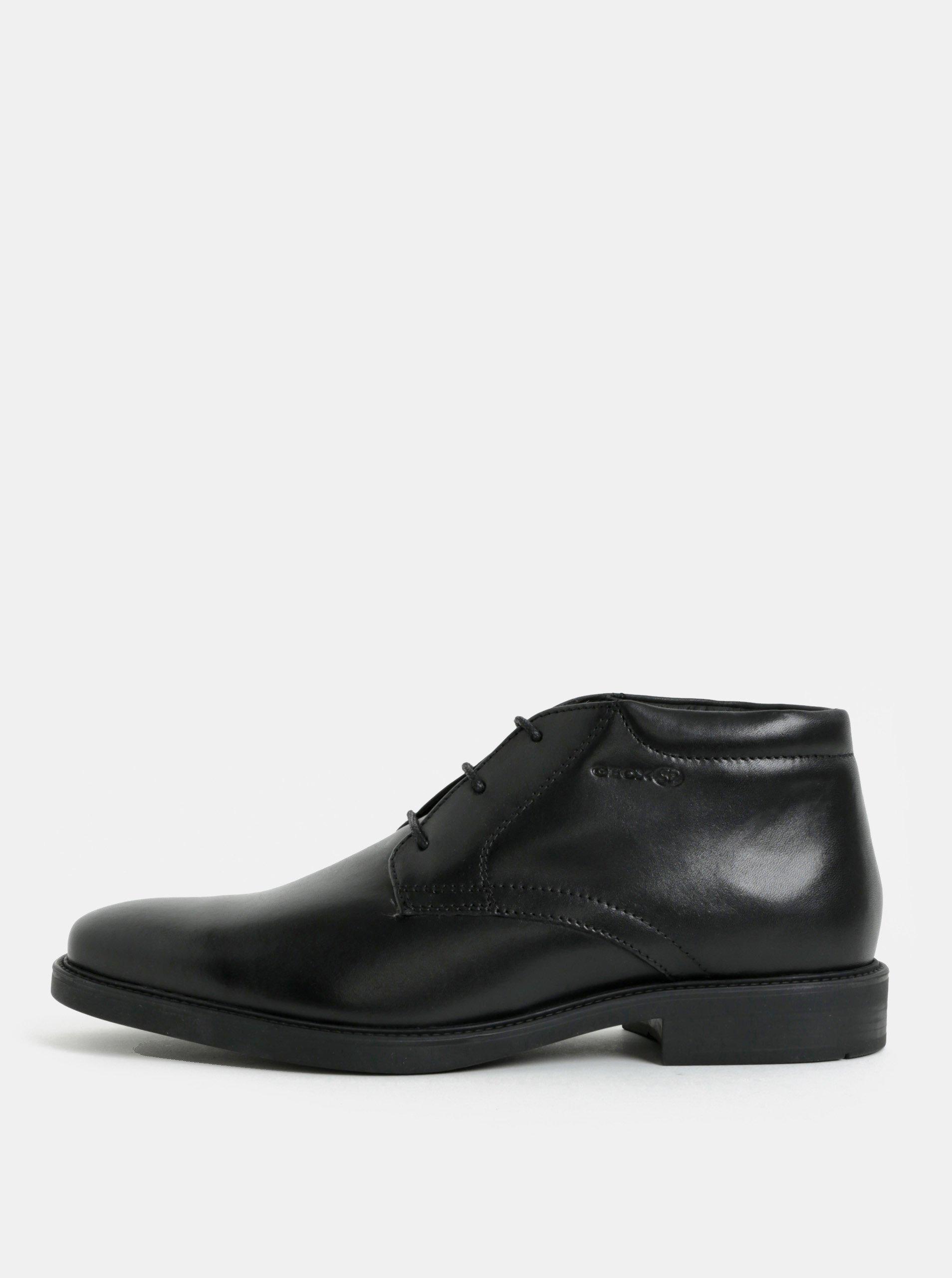Čierne pánske kožené členkové topánky Geox 00d16a563ec