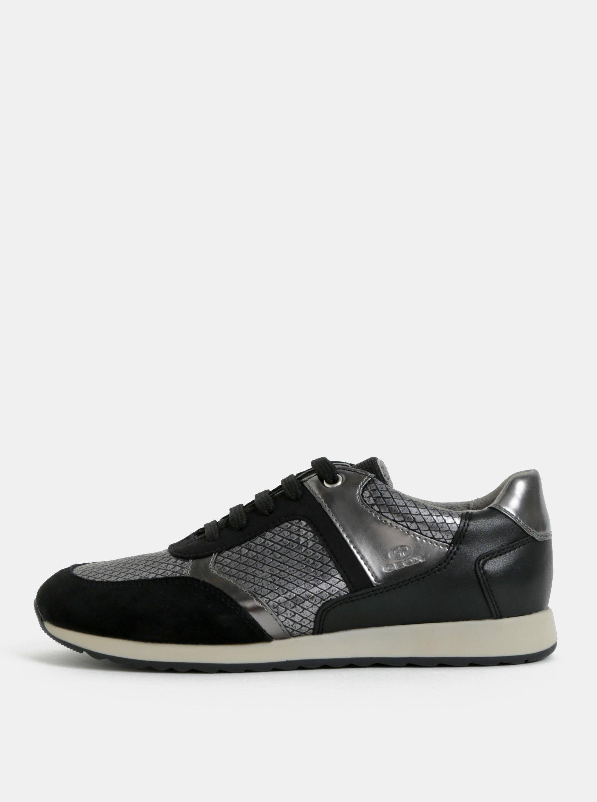 Stříbrno-černé dámské tenisky se semišovými detaily Geox a840e84ef9