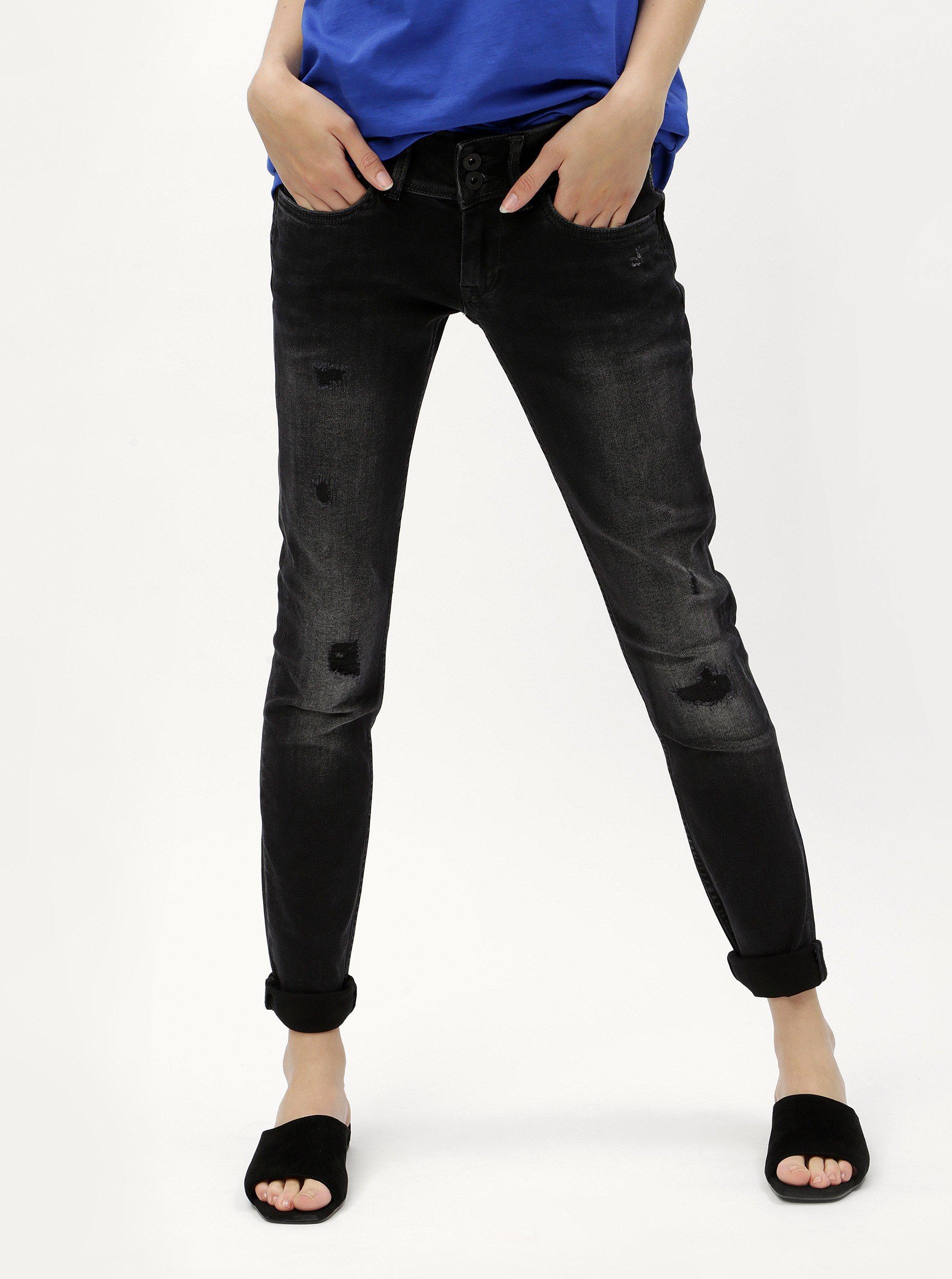 Černé dámské slim džíny s potrhaným efektem Pepe Jeans Vera