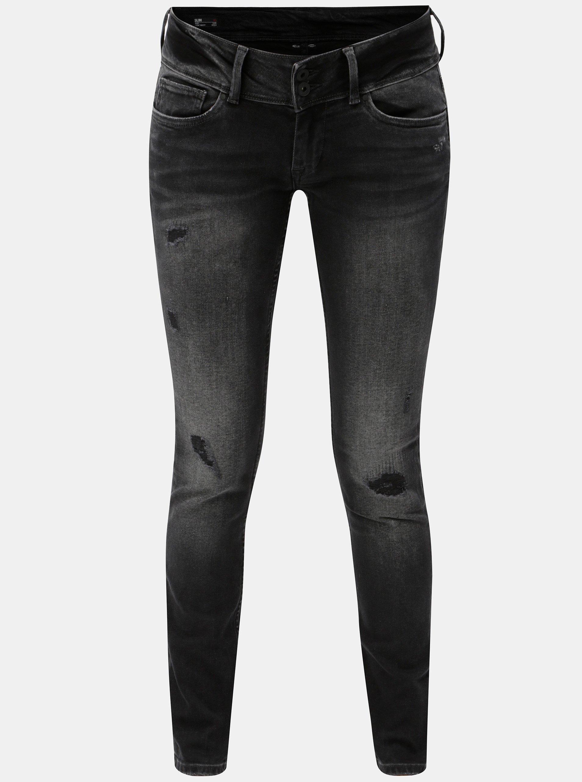 Černé dámské slim džíny s potrhaným efektem Pepe Jeans