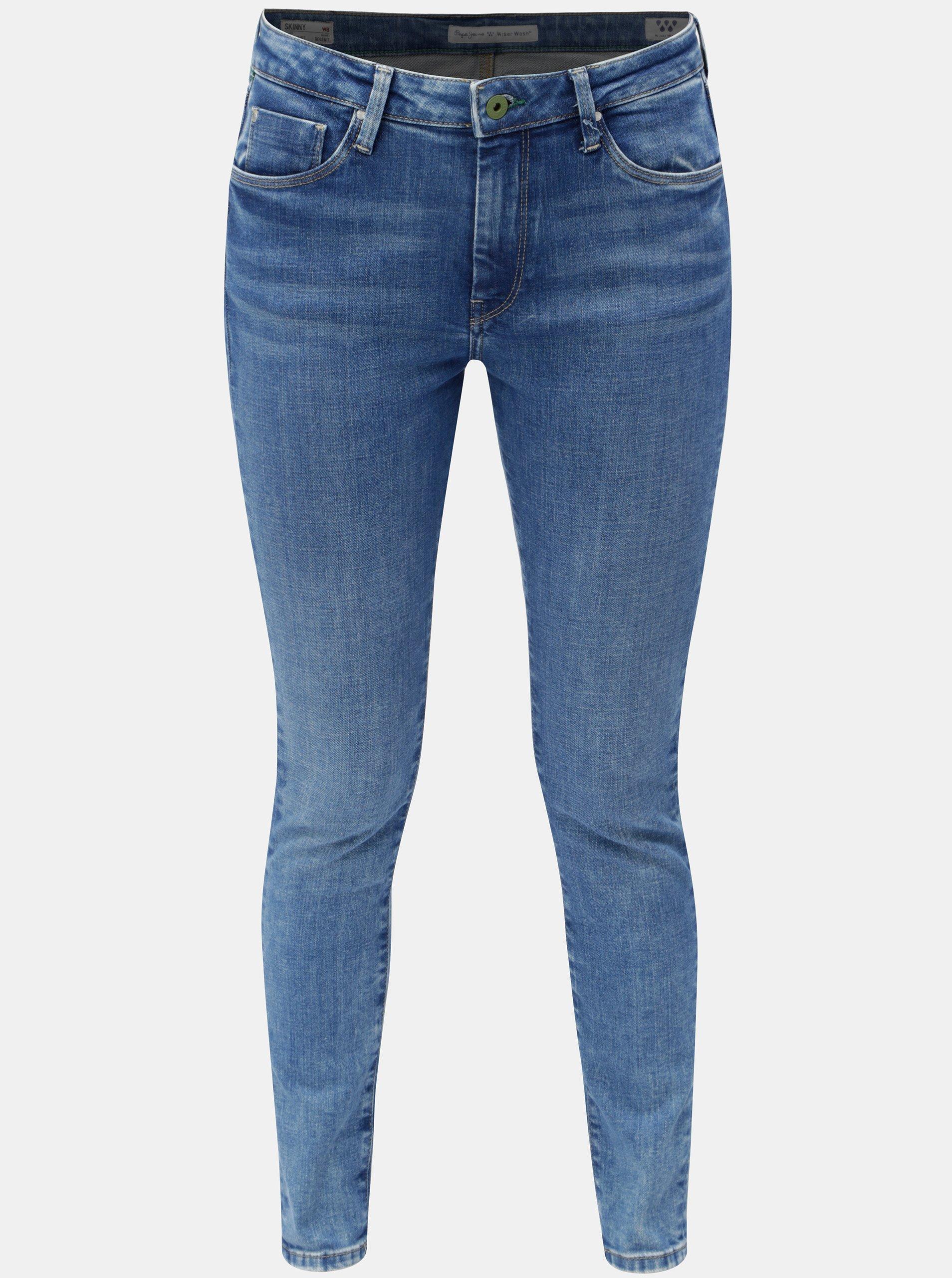 Modré dámské skinny džíny s vysokým pasem džíny Pepe Jeans Regent c39a85eb3f