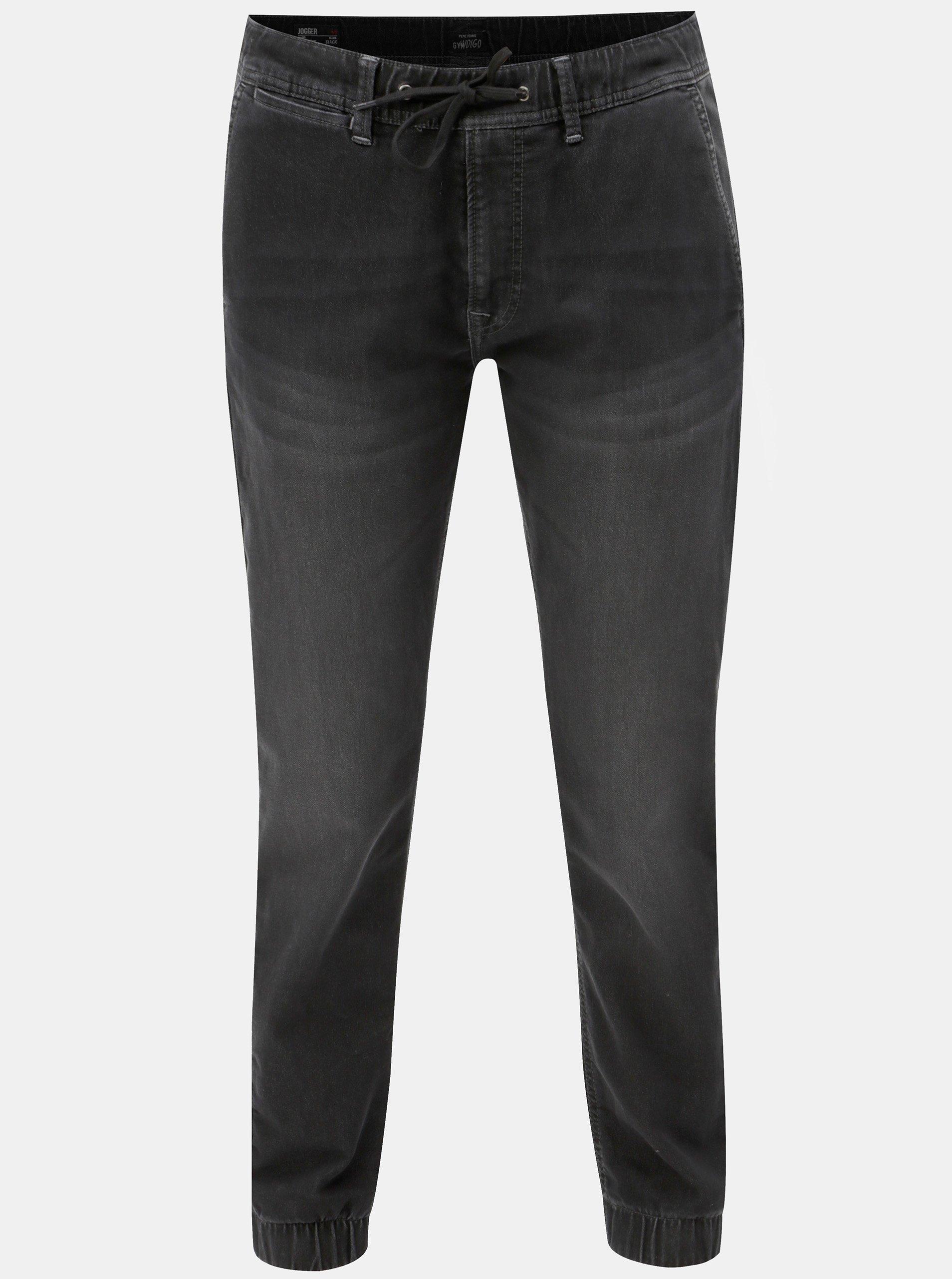 Fotografie Černé pánské kalhoty s elastickým pasem Pepe Jeans