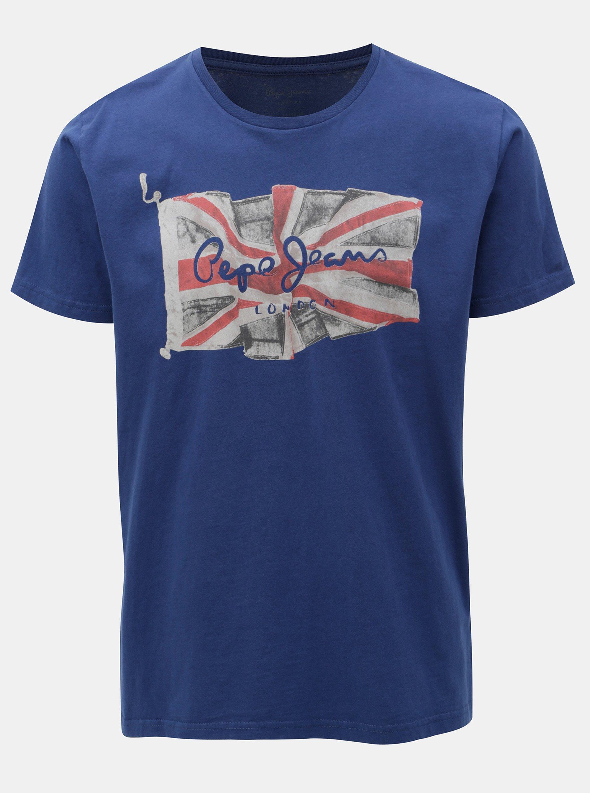 Modré pánske regular tričko s potlačou Pepe Jeans