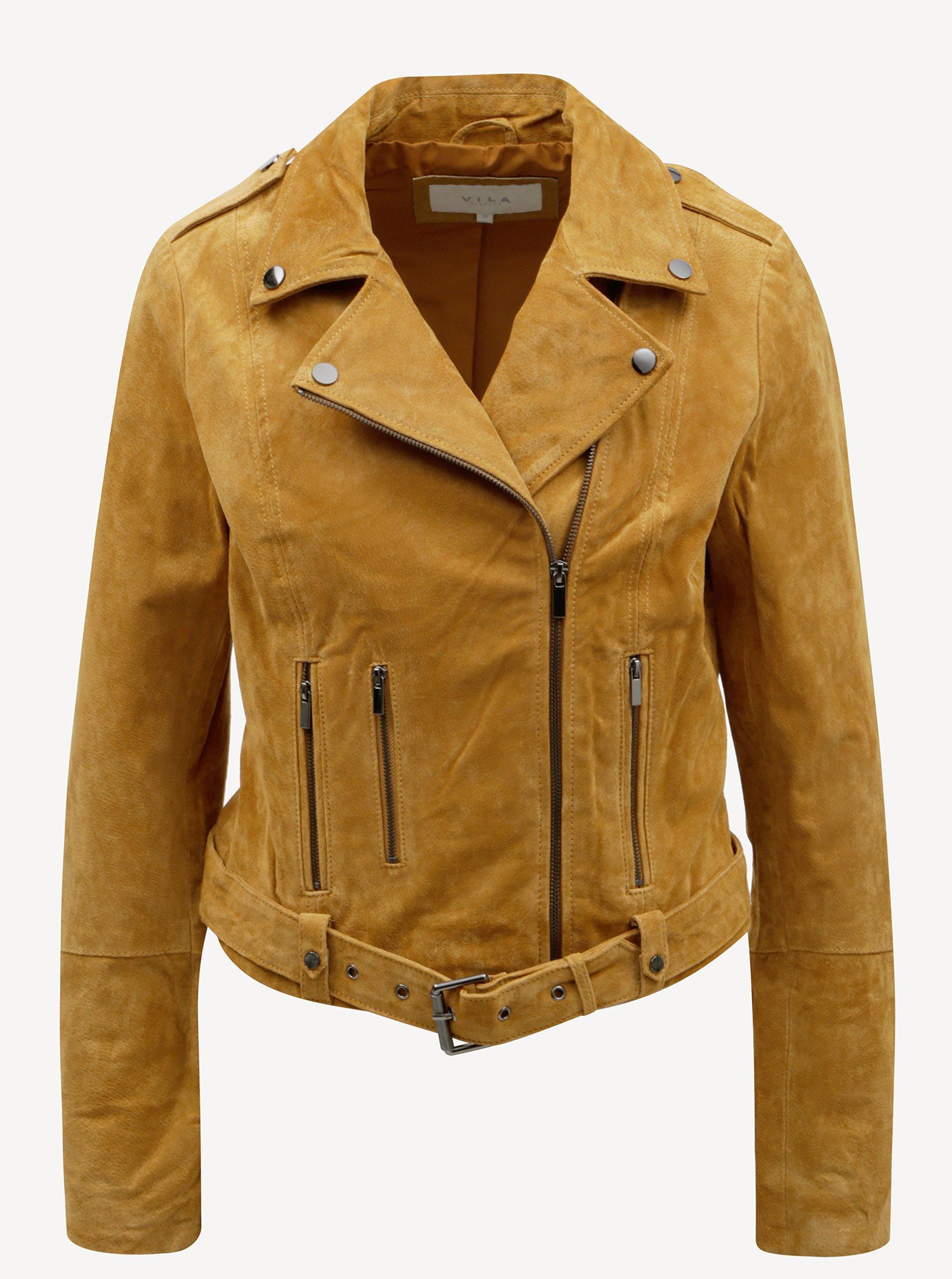 Hnedá semišová kožená bunda VILA Faith 493c8d8d7a8