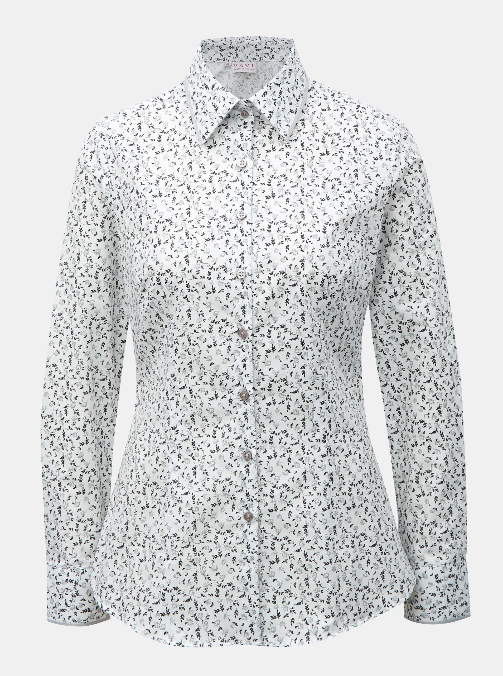Bílá dámská košile s květovaným vzorem VAVI