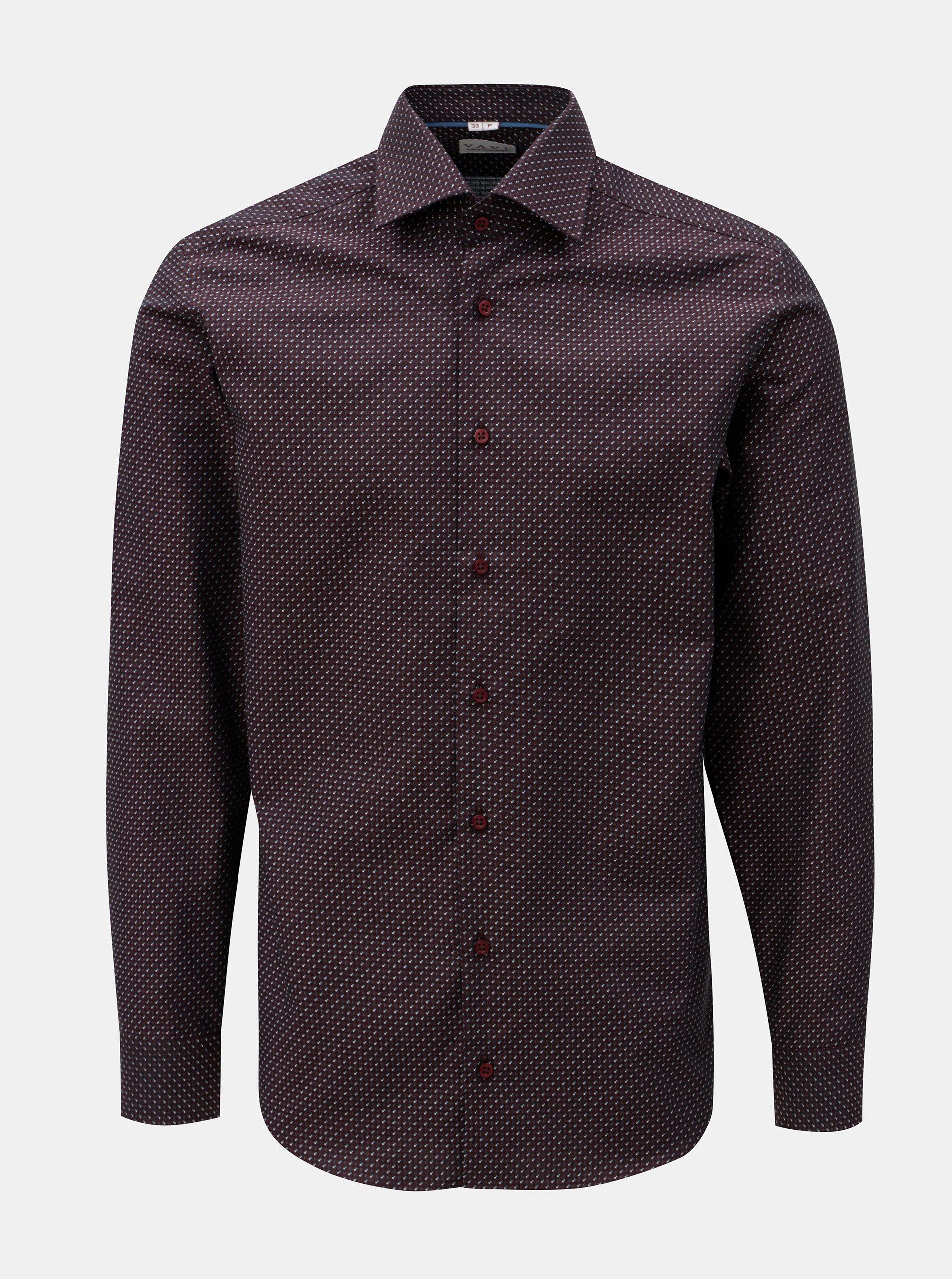 6e604bc75aa Vínová pánská vzorovaná formální košile VAVI