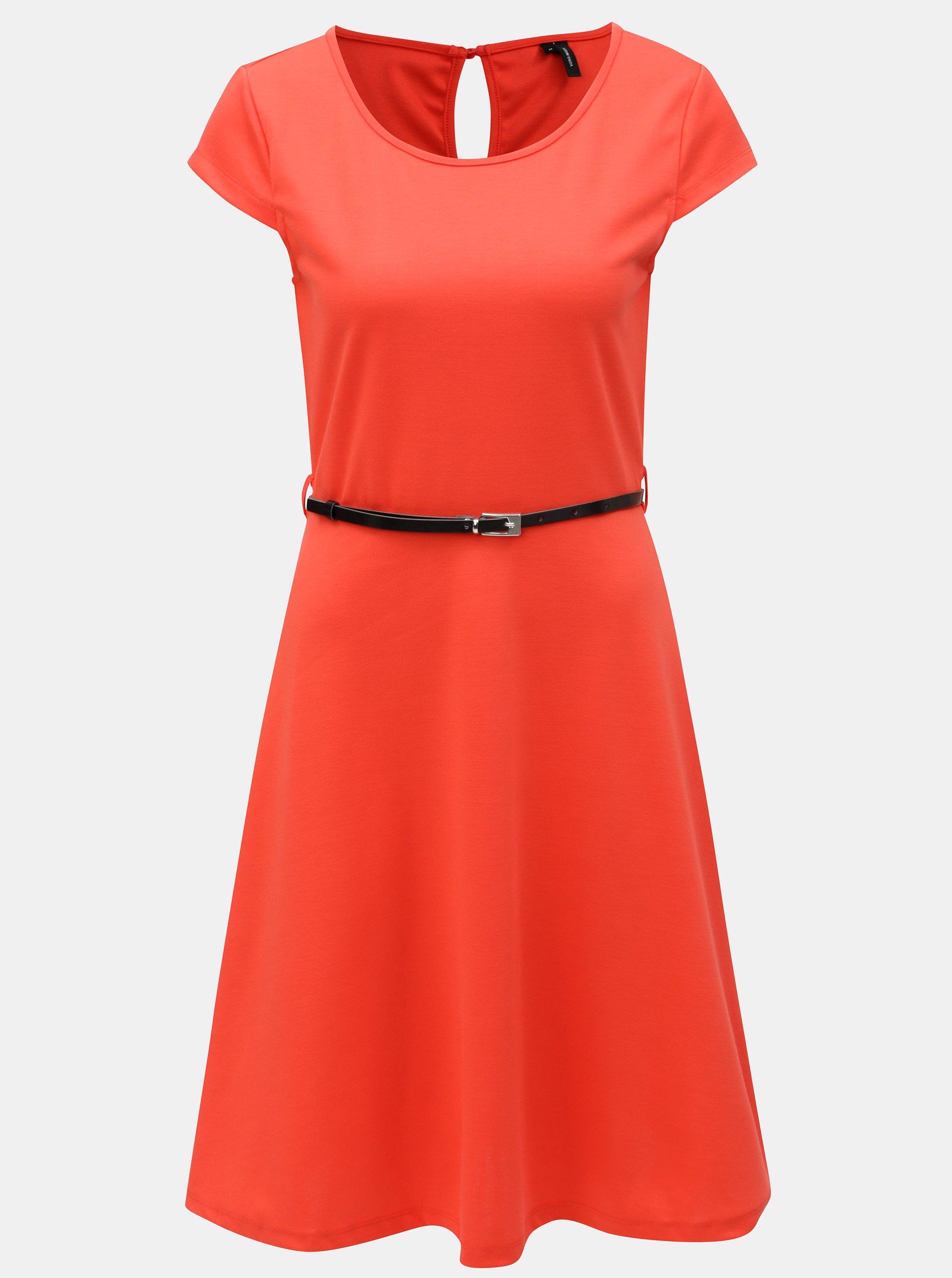Červené šaty s páskem VERO MODA Vigga