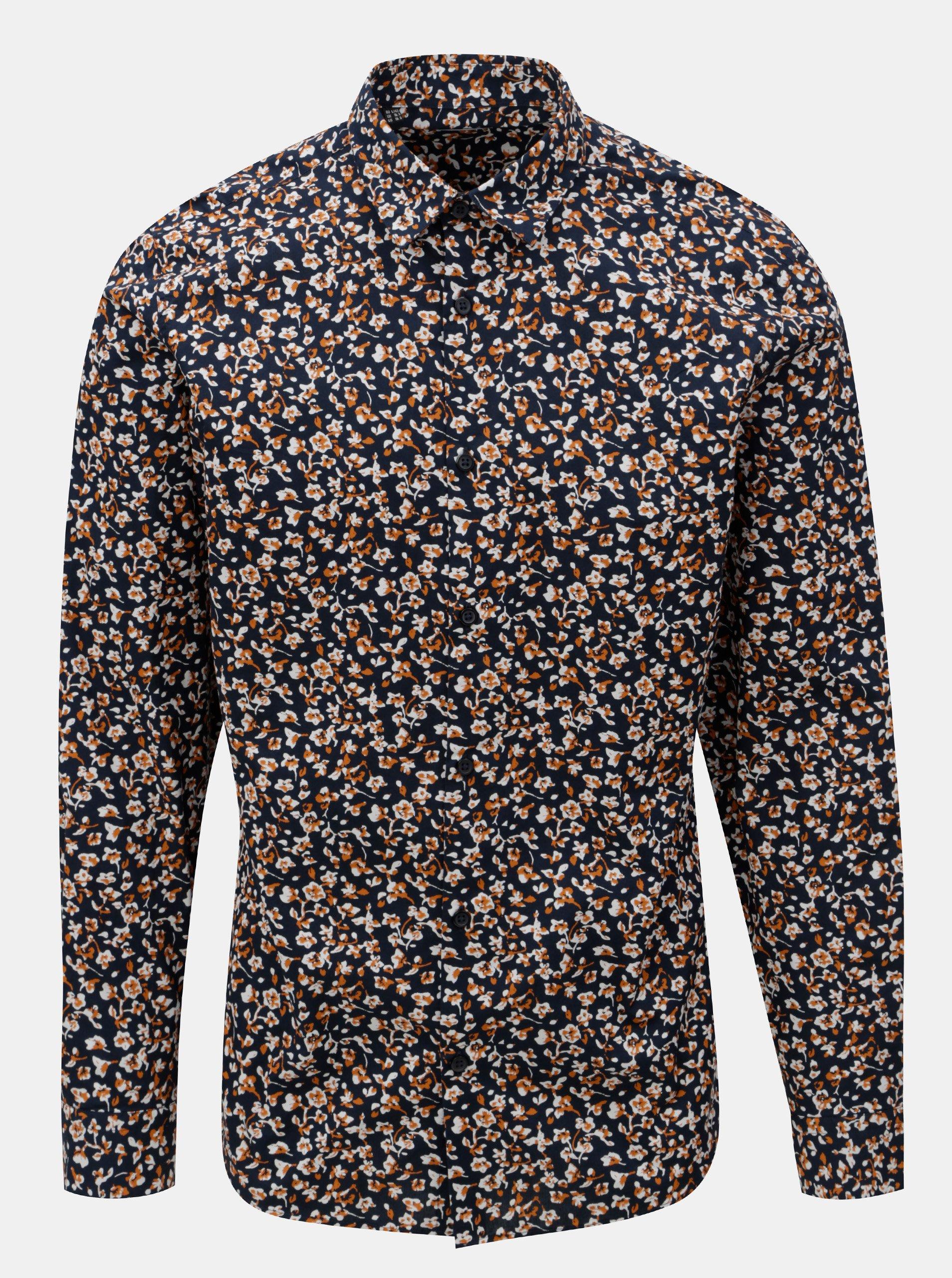 d82f91ace5a Tmavě modrá vzorovaná slim fit košile Selected Homme