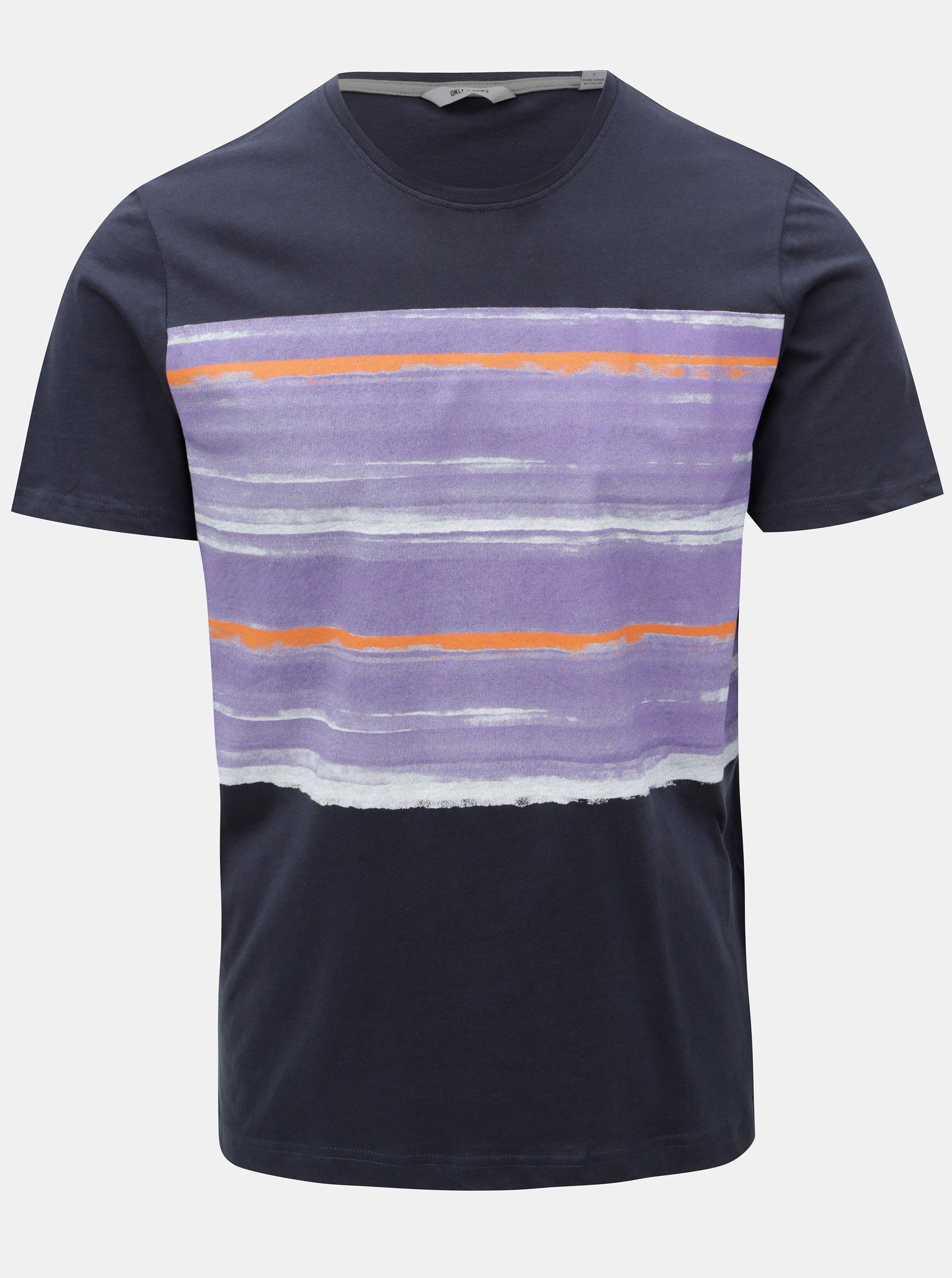 Tmavě modré tričko s potiskem ONLY   SONS 947005d337