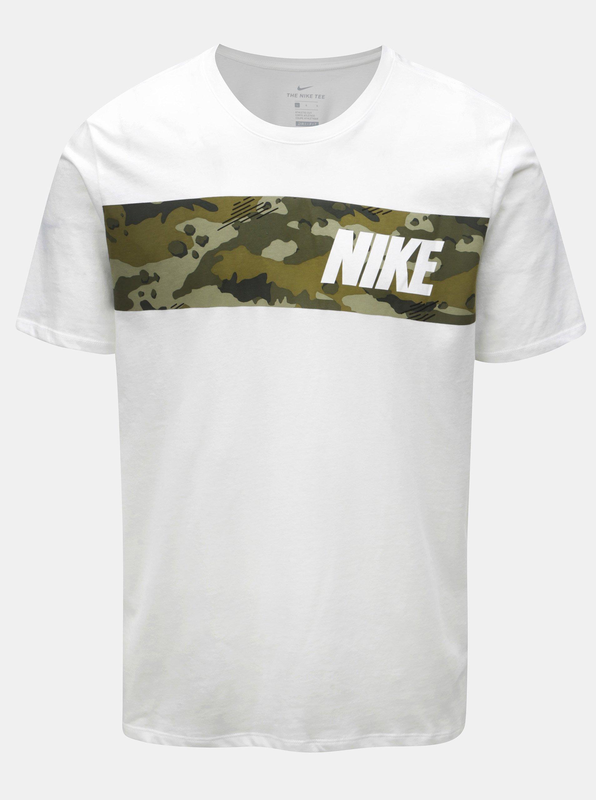 Bílé pánské funkční tričko Nike Block Camo