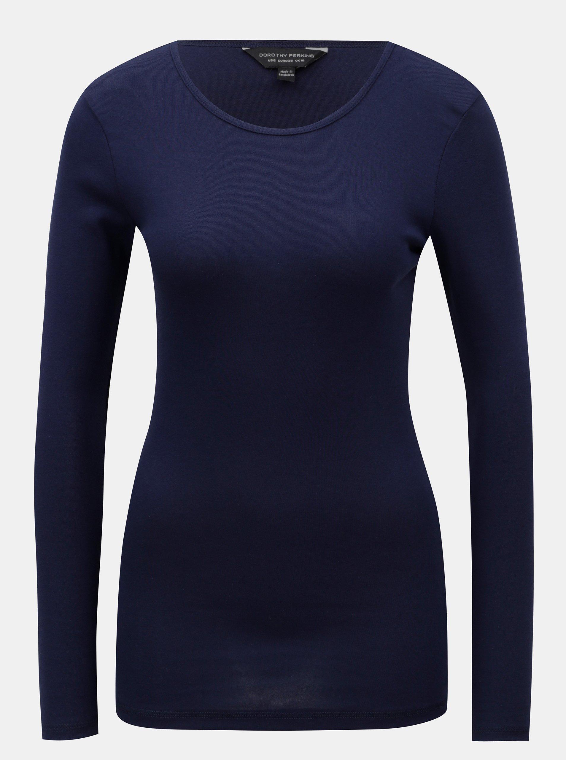 Modré basic tričko s dlhým rukávom Dorothy Perkins