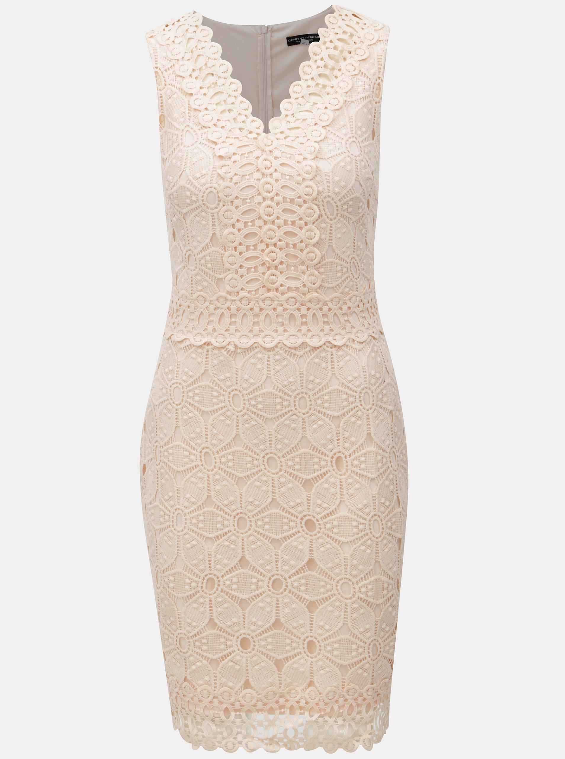 Ružové čipkované šaty Dorothy Perkins 2a23b8ee0db