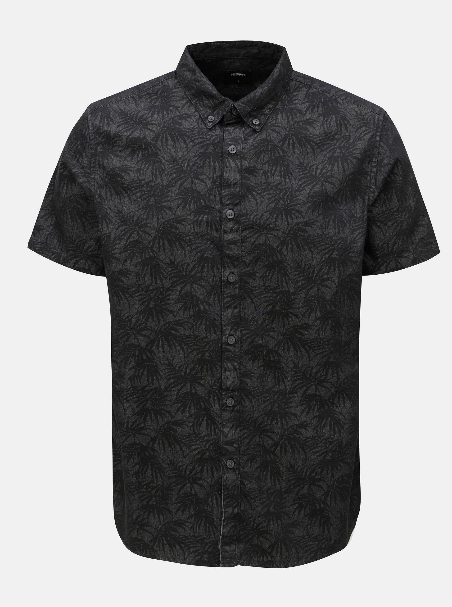 Tmavě šedá košile s motivem listů Burton Menswear London 79b7fe5e12