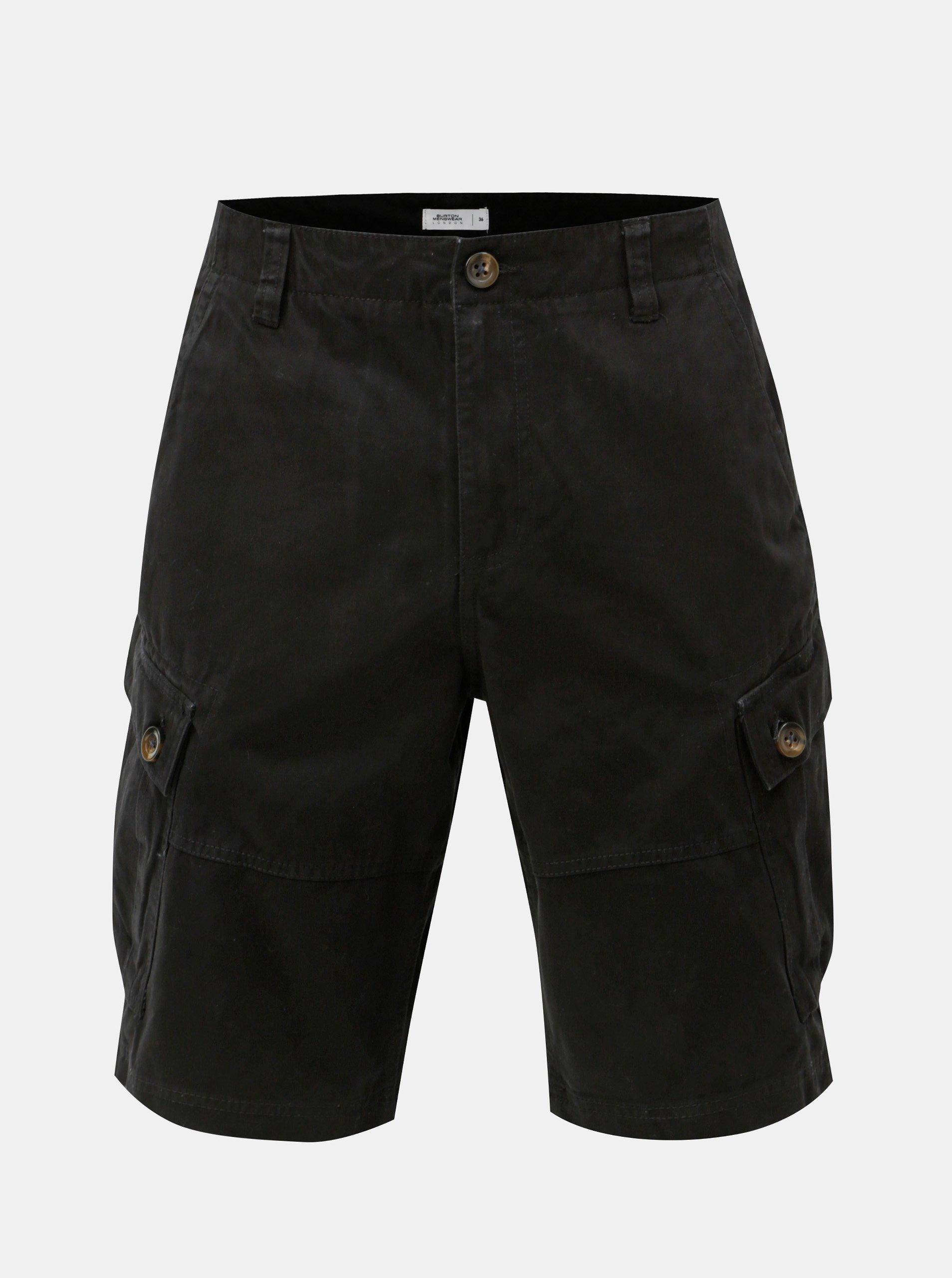 Černé kraťasy s kapsami Burton Menswear London