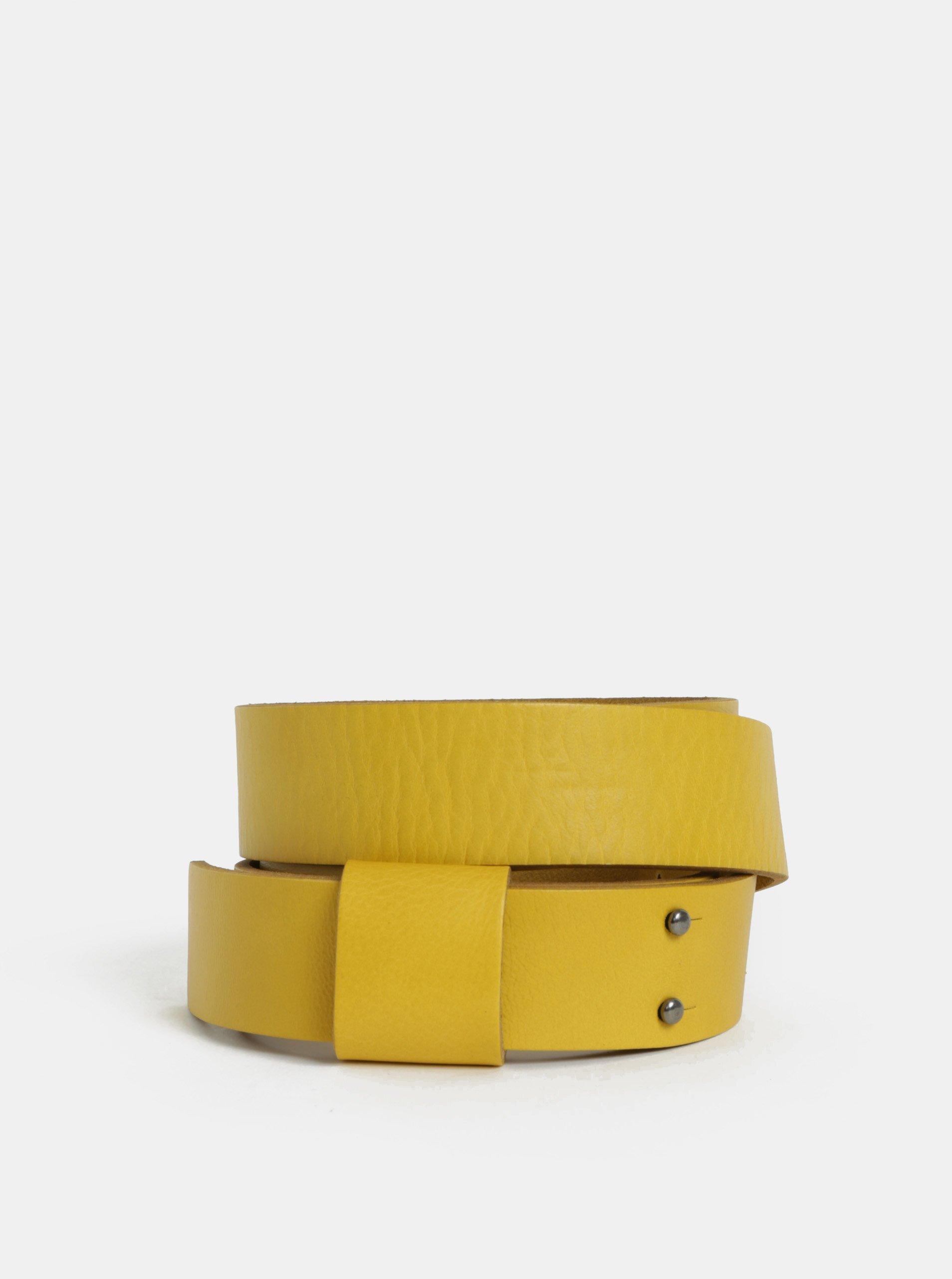 Hořčicový kožený pásek WOOX