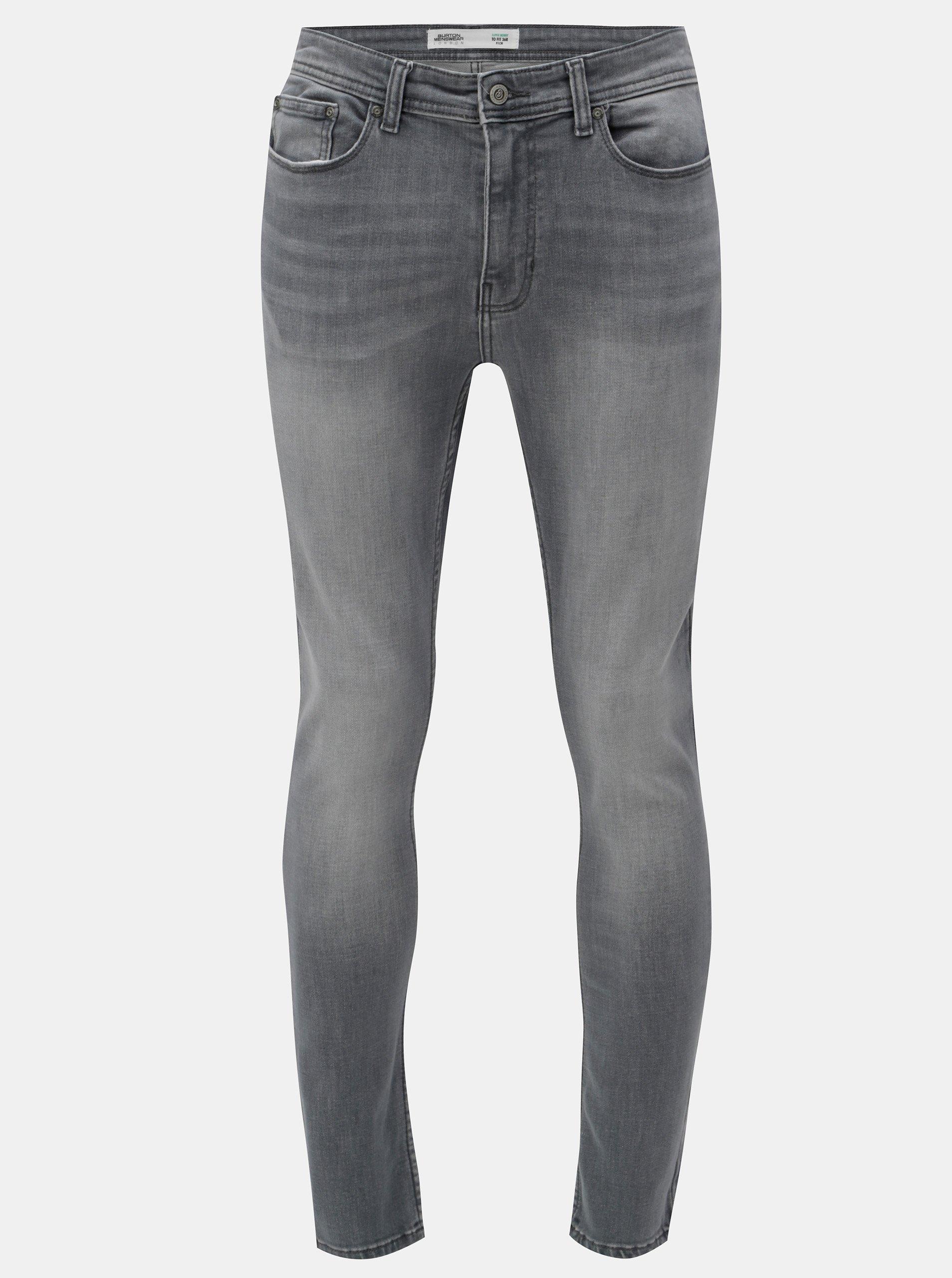 Šedé skinny džíny s vyšisovaným efektem Burton Menswear London