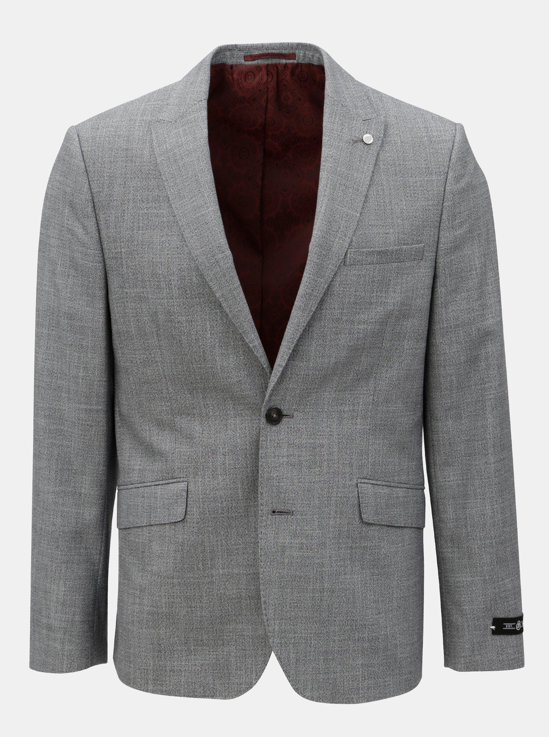 Šedé žíhané oblekové sako Burton Menswear London
