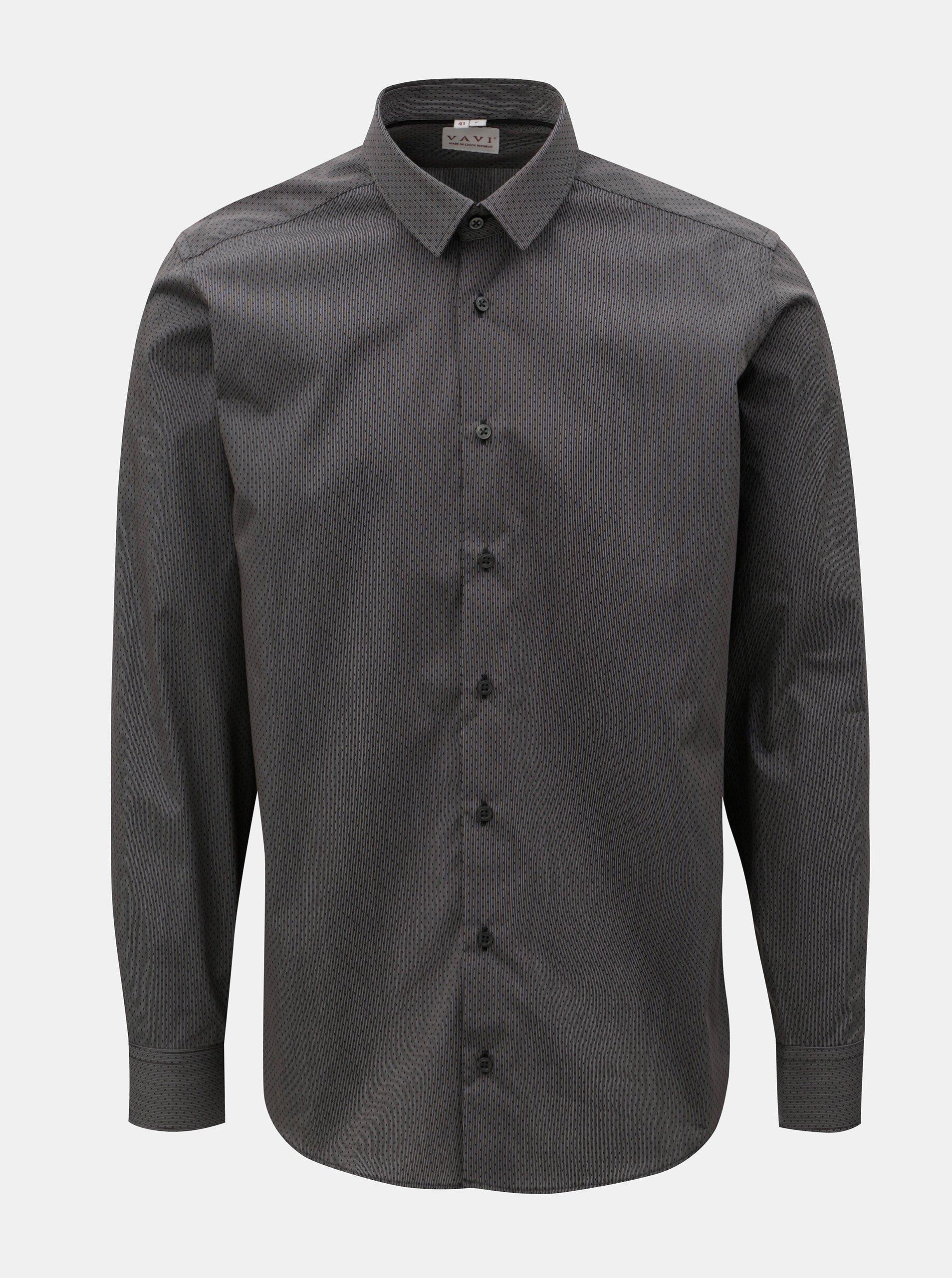 Fotografie Tmavě šedá pánská košile s drobným vzorem a dlouhým rukávem VAVI