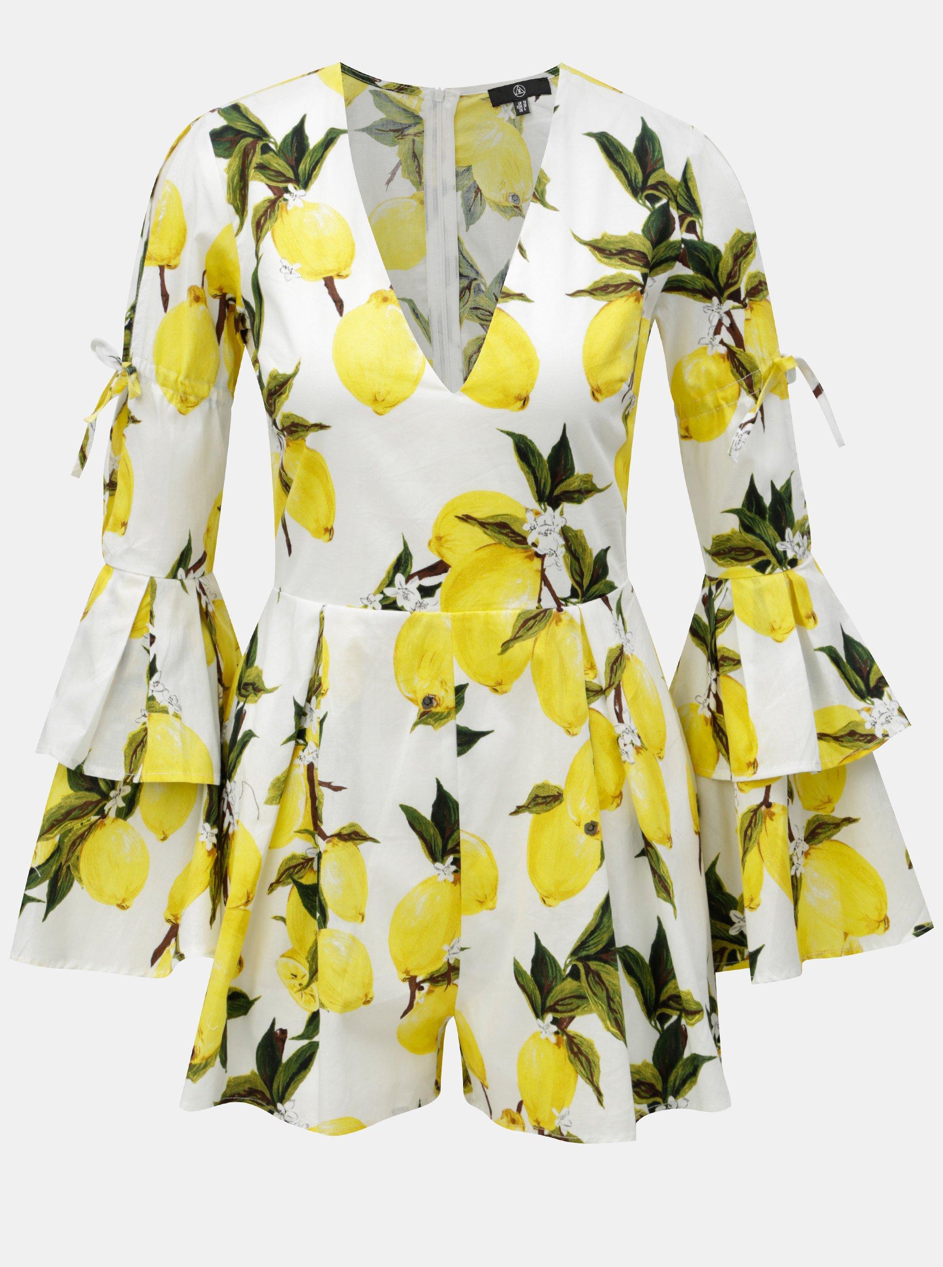Žluto-bílý overal s motivem citrónů a volány na rukávech MISSGUIDED