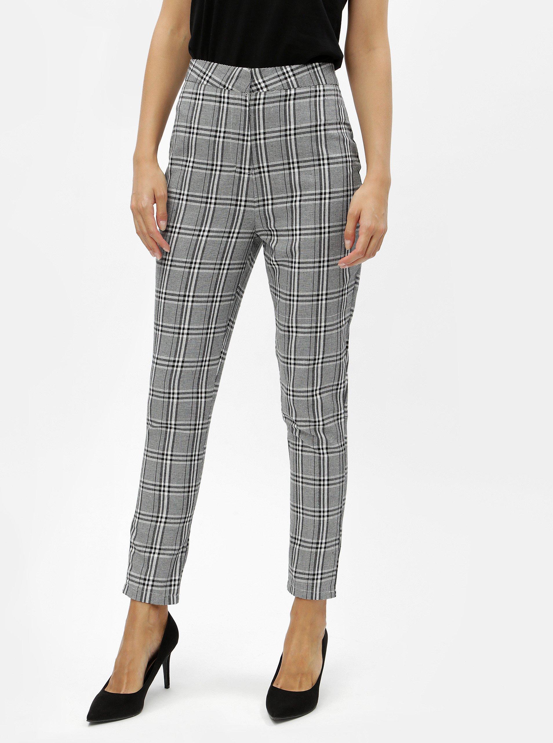 šedé kostkované kalhoty s vysokým pasem MISSGUIDED