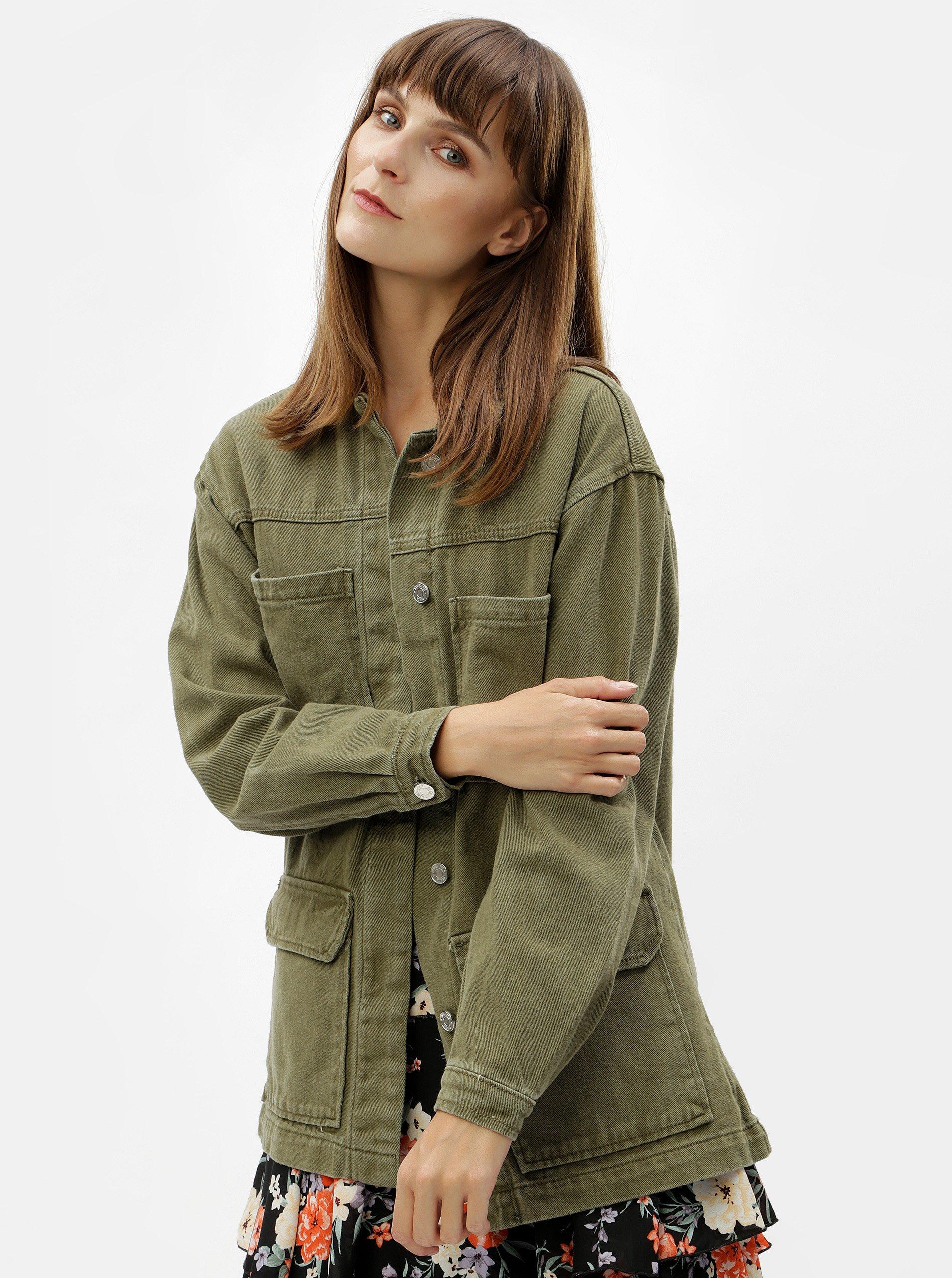 Khaki džínová oversize bunda MISSGUIDED