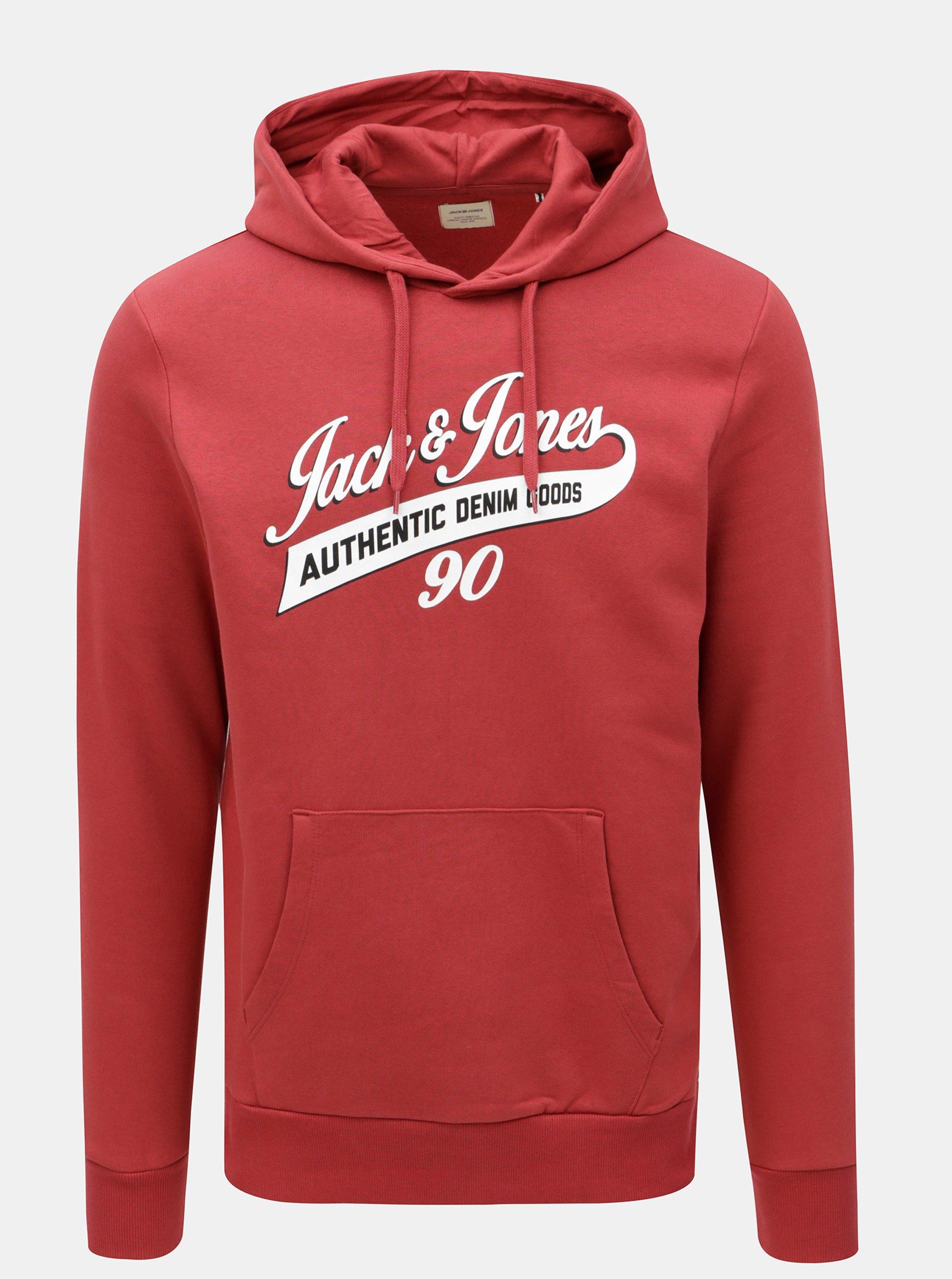 Červená mikina s potiskem Jack   Jones Logo 25256605f3