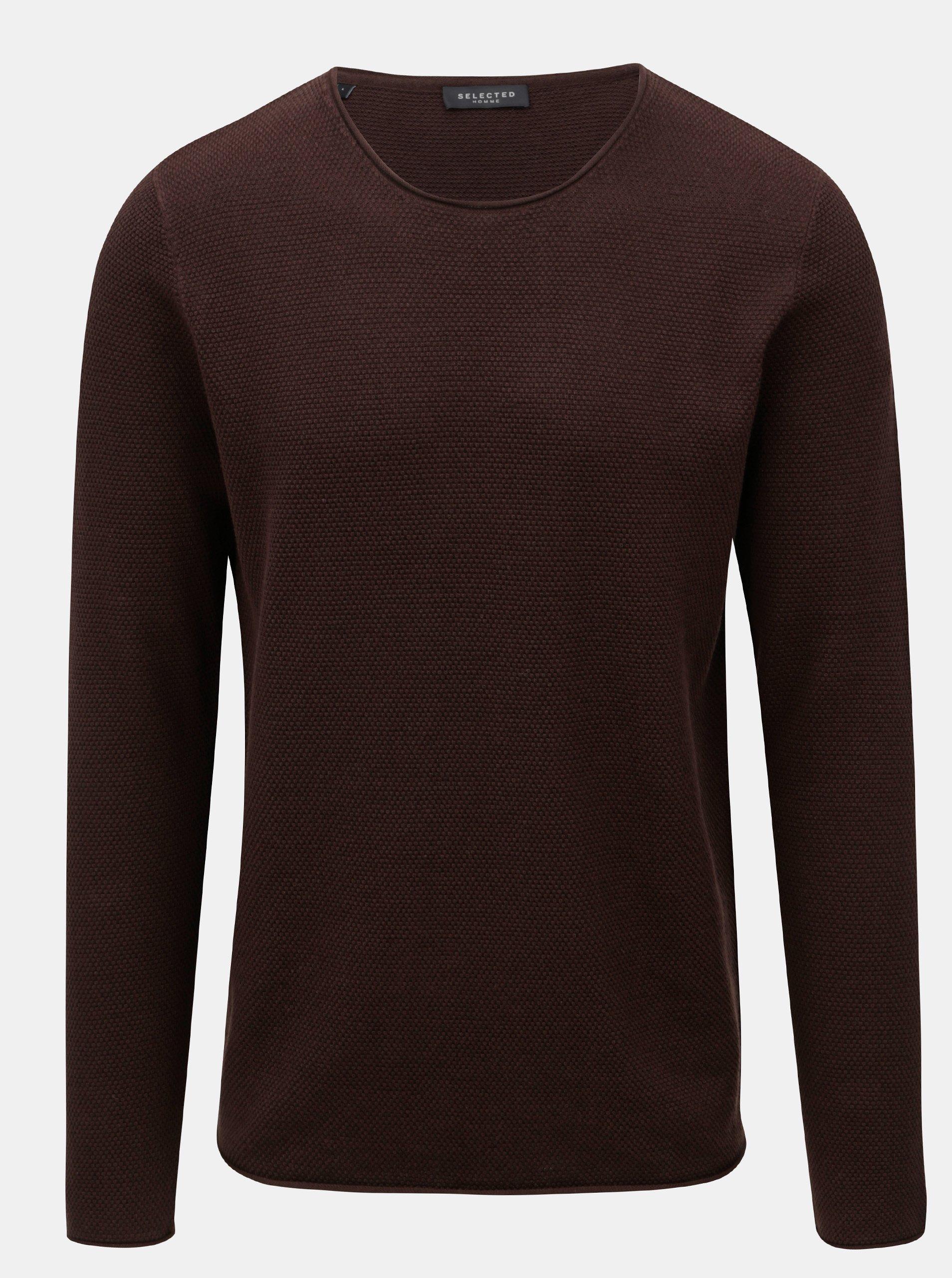 Hnědý svetr s kulatým výstřihem Selected Homme Rocky