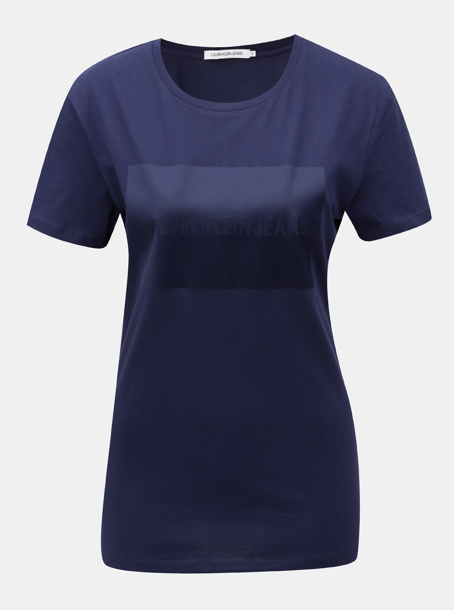 f2f698cf05a Modré dámské tričko s potiskem Calvin Klein Jeans