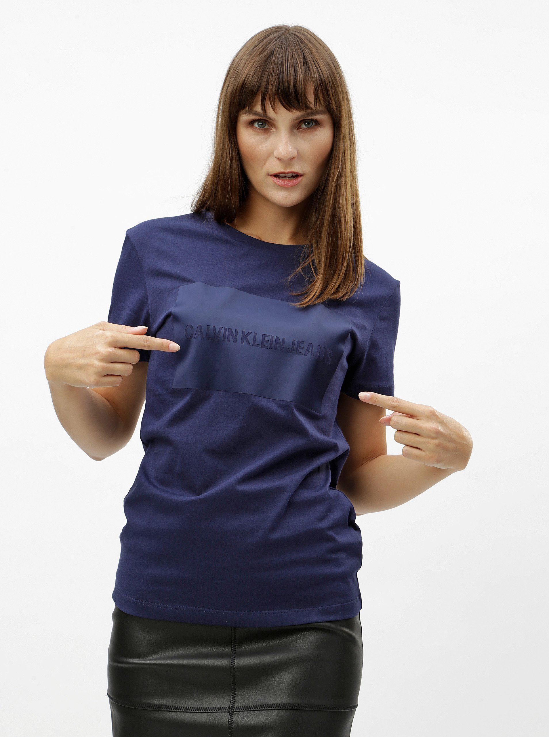 Fotografie Modré dámské tričko s potiskem Calvin Klein Jeans