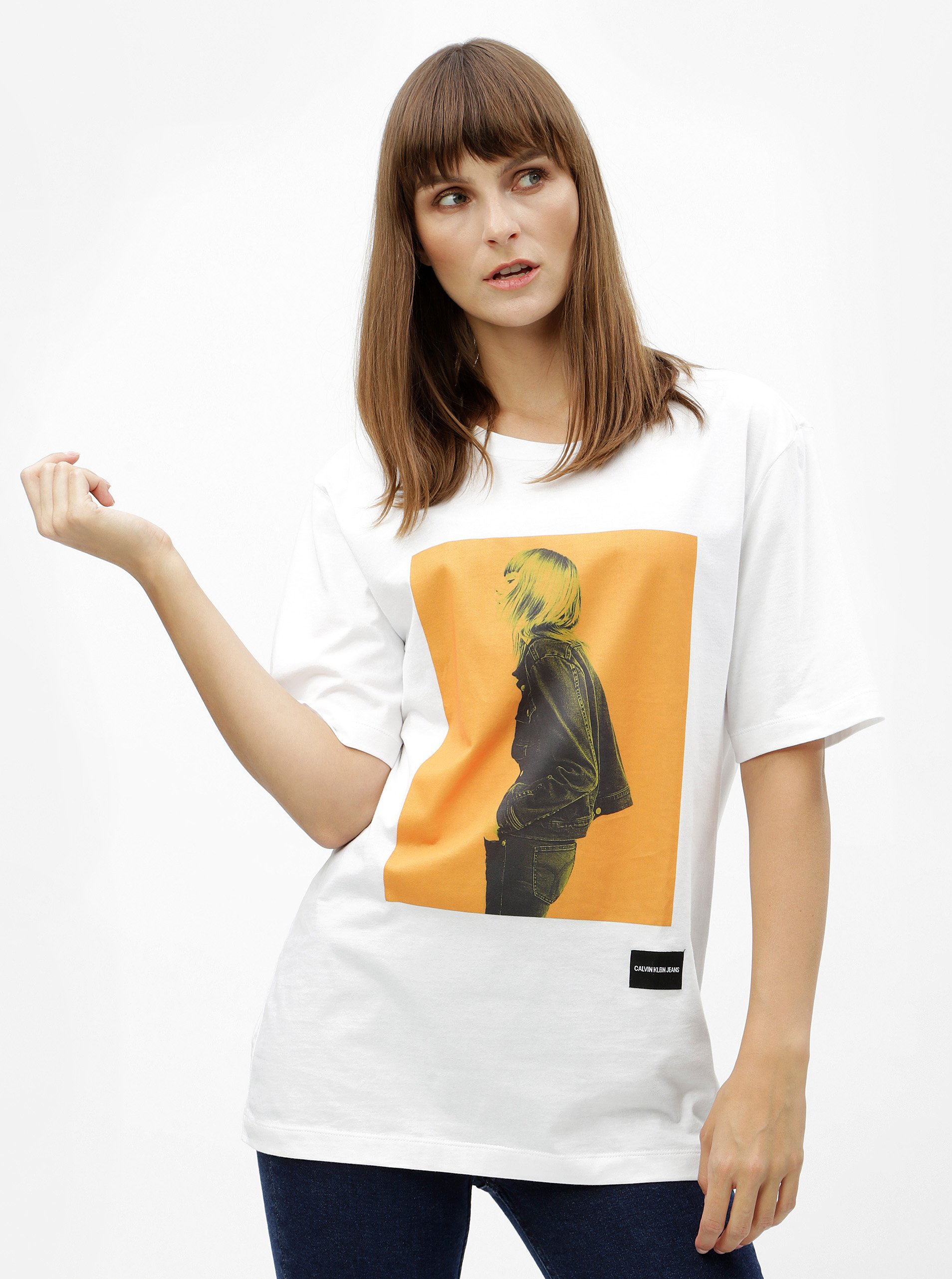 Bílé dámské volné tričko s potiskem Calvin Klein Jeans