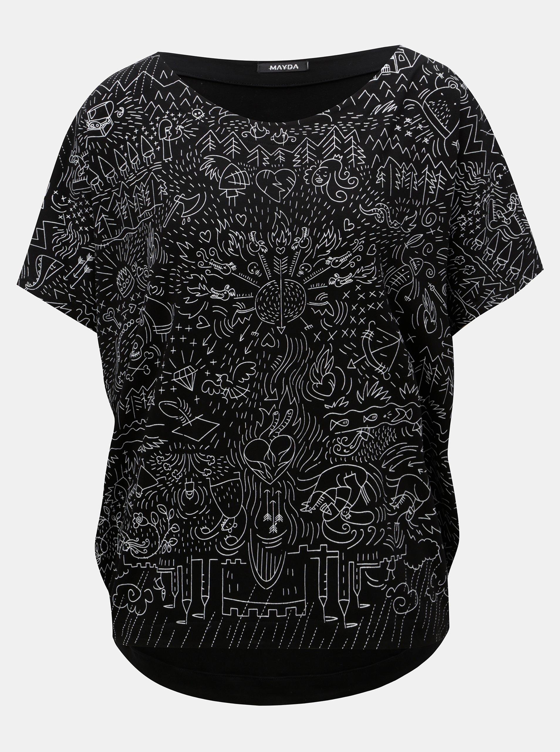 74f8a047b78 Černé volné tričko s potiskem Mayda Pohádka